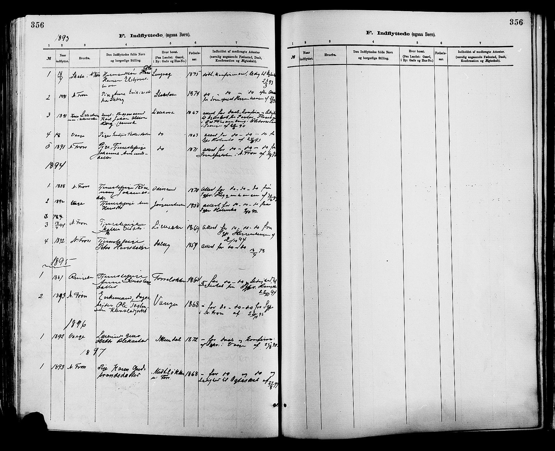 SAH, Sør-Fron prestekontor, H/Ha/Haa/L0003: Ministerialbok nr. 3, 1881-1897, s. 356