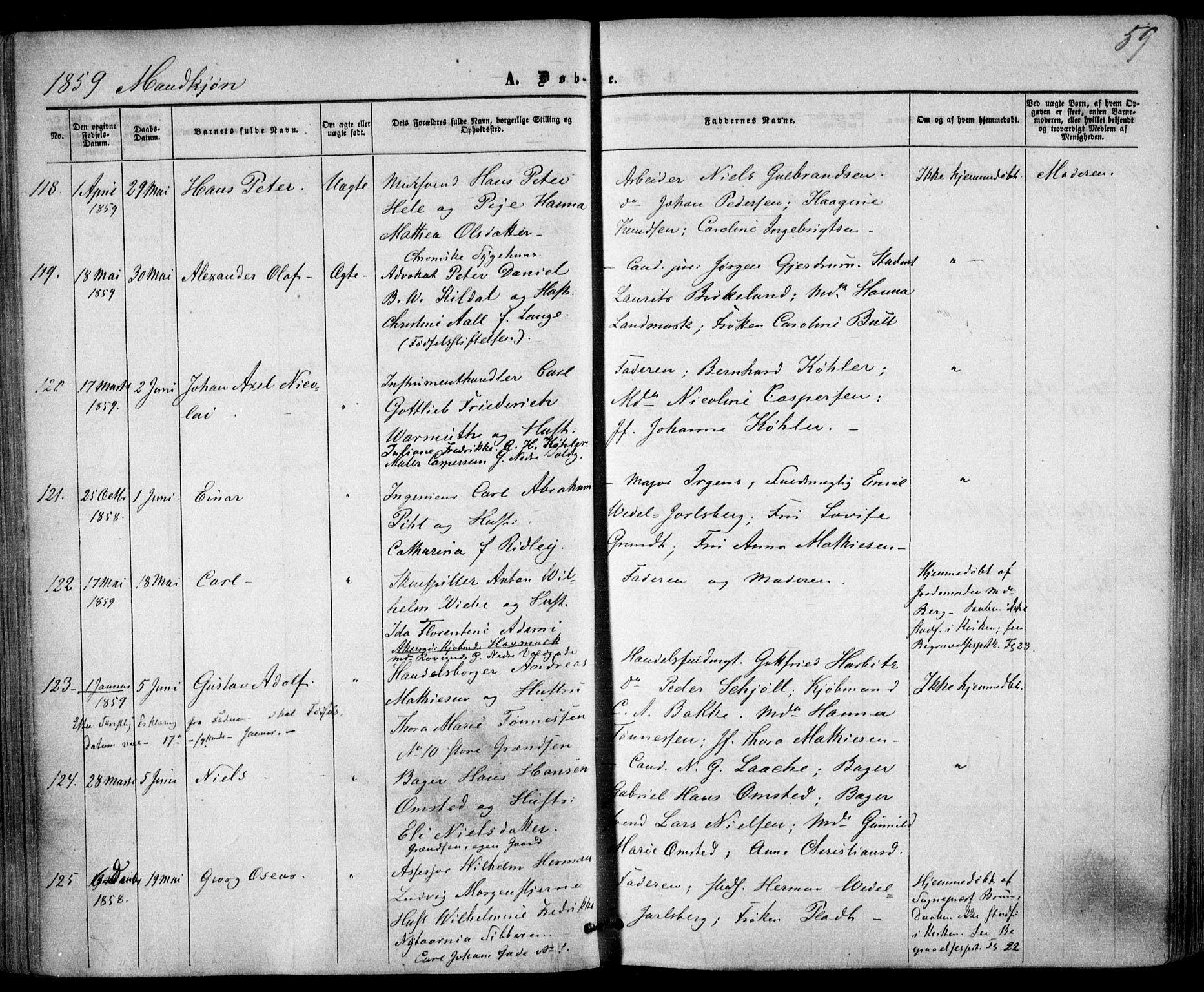 SAO, Trefoldighet prestekontor Kirkebøker, F/Fa/L0001: Ministerialbok nr. I 1, 1858-1863, s. 59
