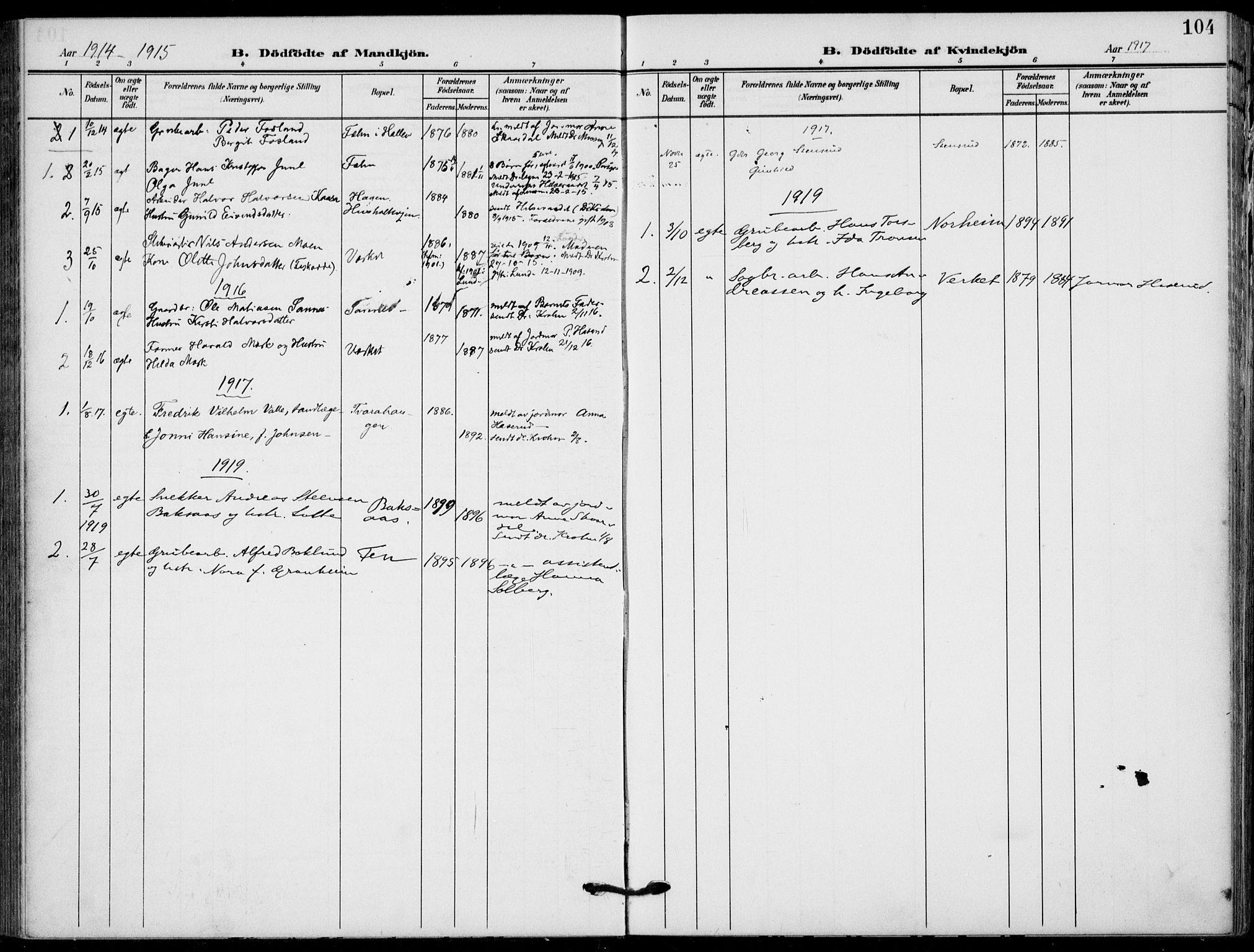 SAKO, Holla kirkebøker, F/Fa/L0012: Ministerialbok nr. 12, 1907-1923, s. 104