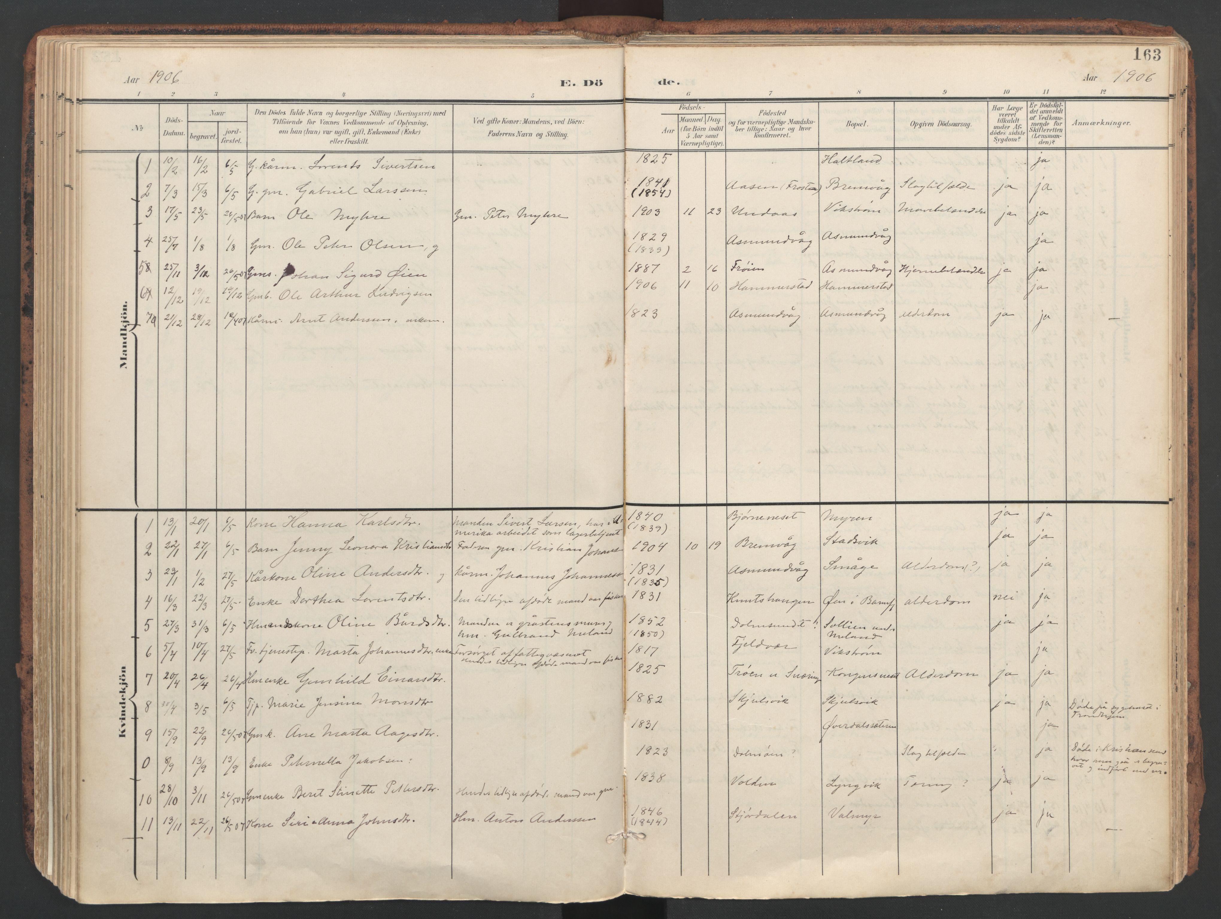 SAT, Ministerialprotokoller, klokkerbøker og fødselsregistre - Sør-Trøndelag, 634/L0537: Ministerialbok nr. 634A13, 1896-1922, s. 163