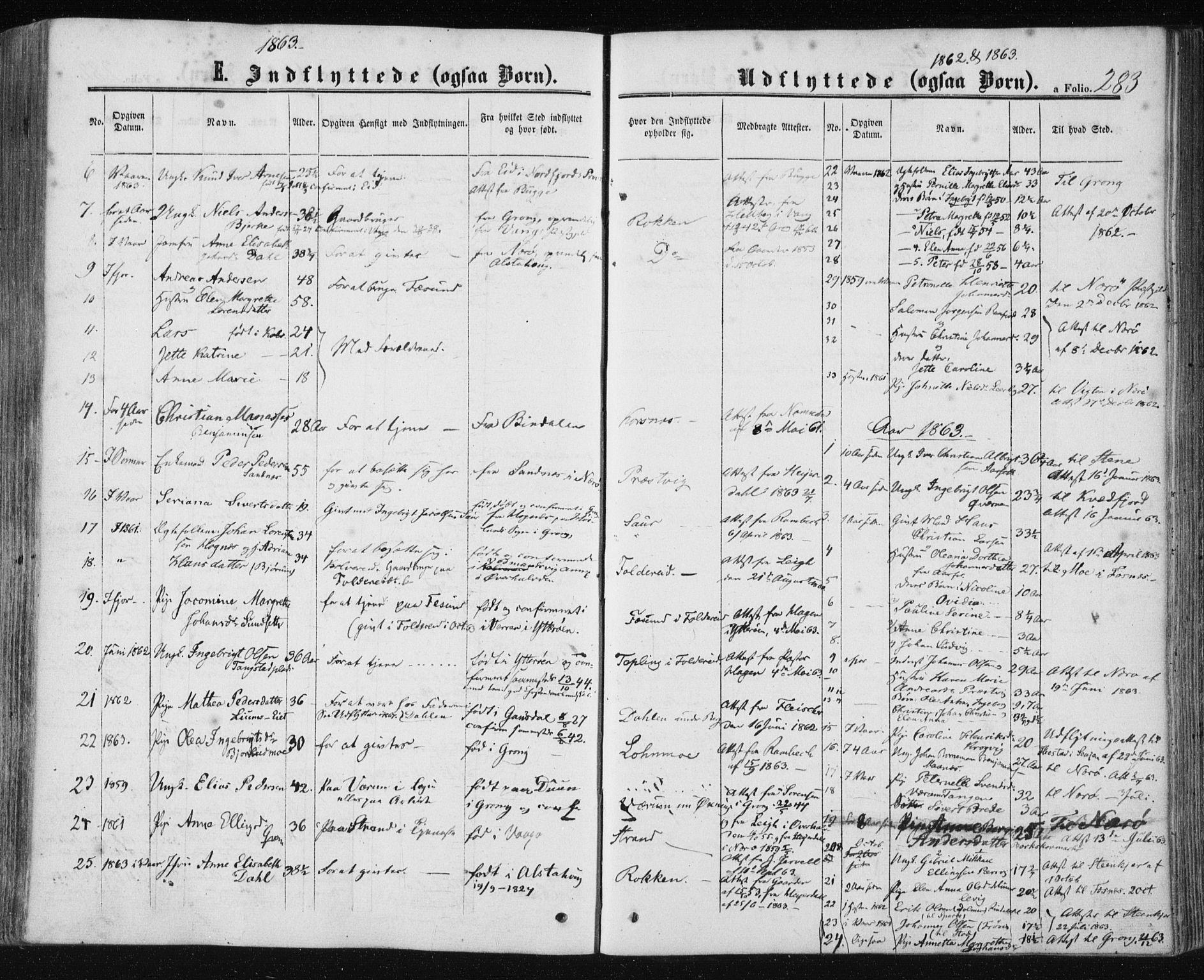 SAT, Ministerialprotokoller, klokkerbøker og fødselsregistre - Nord-Trøndelag, 780/L0641: Ministerialbok nr. 780A06, 1857-1874, s. 283
