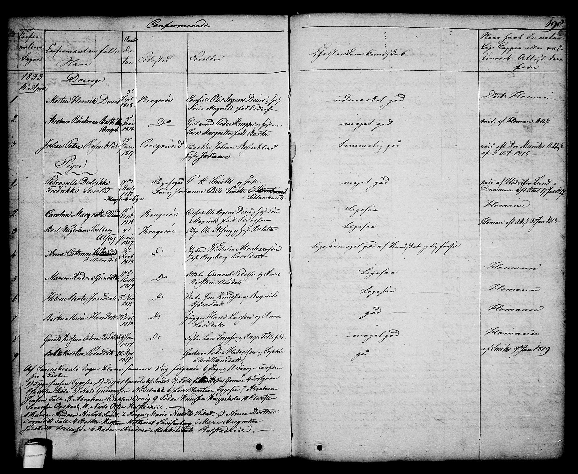 SAKO, Kragerø kirkebøker, G/Ga/L0003: Klokkerbok nr. 3, 1832-1852, s. 198