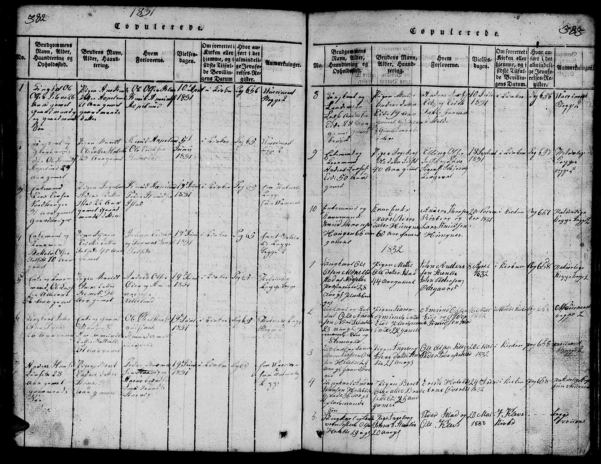 SAT, Ministerialprotokoller, klokkerbøker og fødselsregistre - Møre og Romsdal, 557/L0683: Klokkerbok nr. 557C01, 1818-1862, s. 382-383