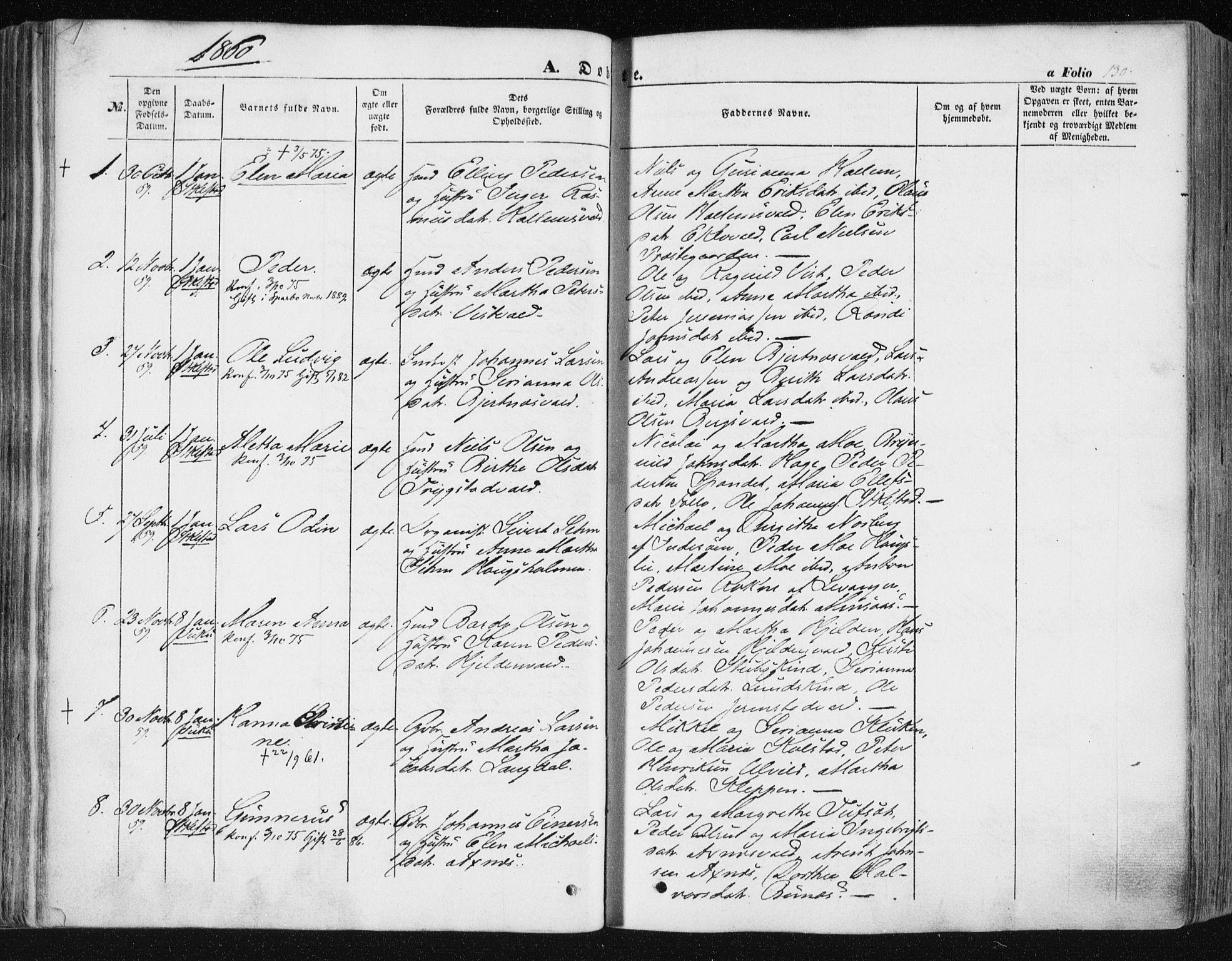 SAT, Ministerialprotokoller, klokkerbøker og fødselsregistre - Nord-Trøndelag, 723/L0240: Ministerialbok nr. 723A09, 1852-1860, s. 130
