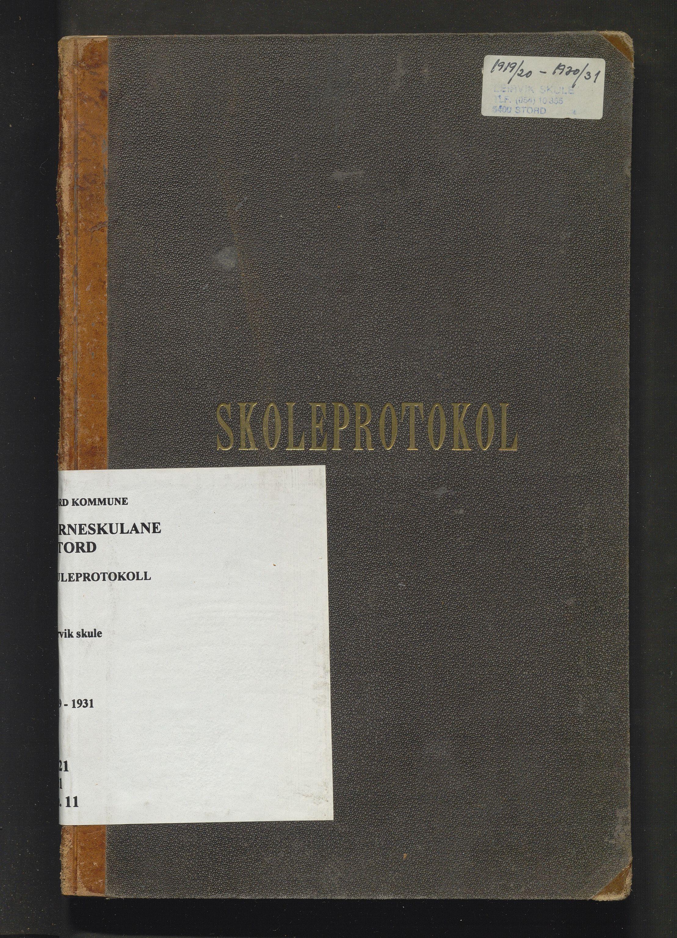 IKAH, Stord kommune. Barneskulane, F/Fa/L0011: Skuleprotokoll for Leirvik skule, 1919-1931