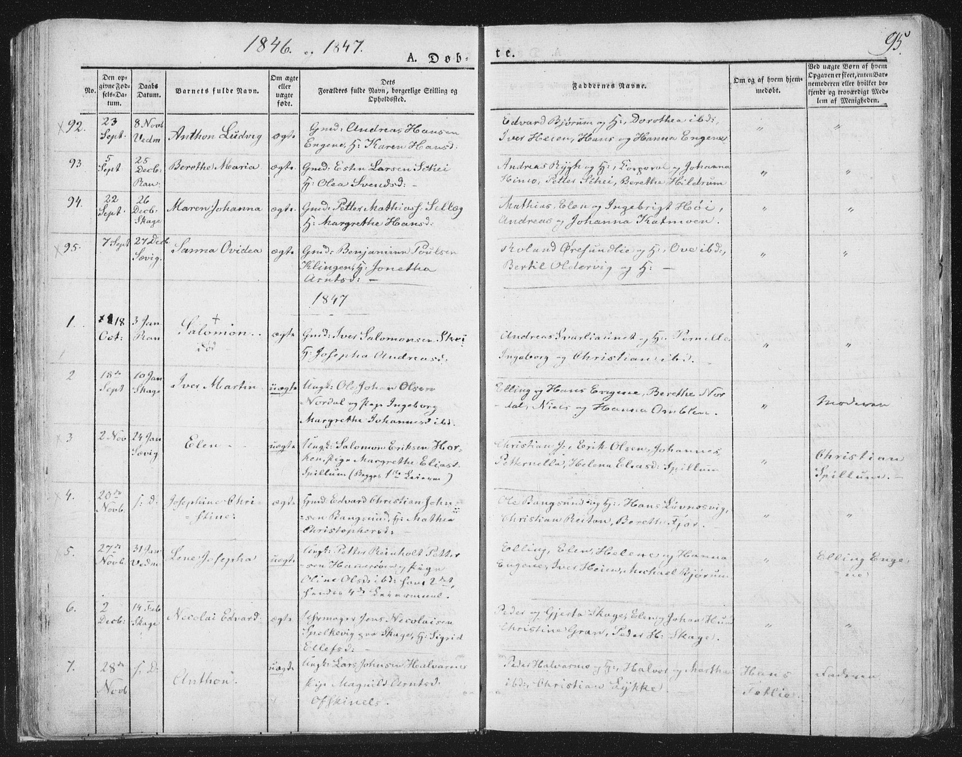 SAT, Ministerialprotokoller, klokkerbøker og fødselsregistre - Nord-Trøndelag, 764/L0551: Ministerialbok nr. 764A07a, 1824-1864, s. 95