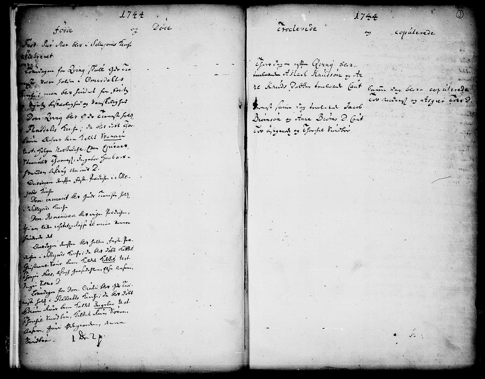 SAKO, Seljord kirkebøker, F/Fa/L0006: Ministerialbok nr. I 6, 1744-1755, s. 3