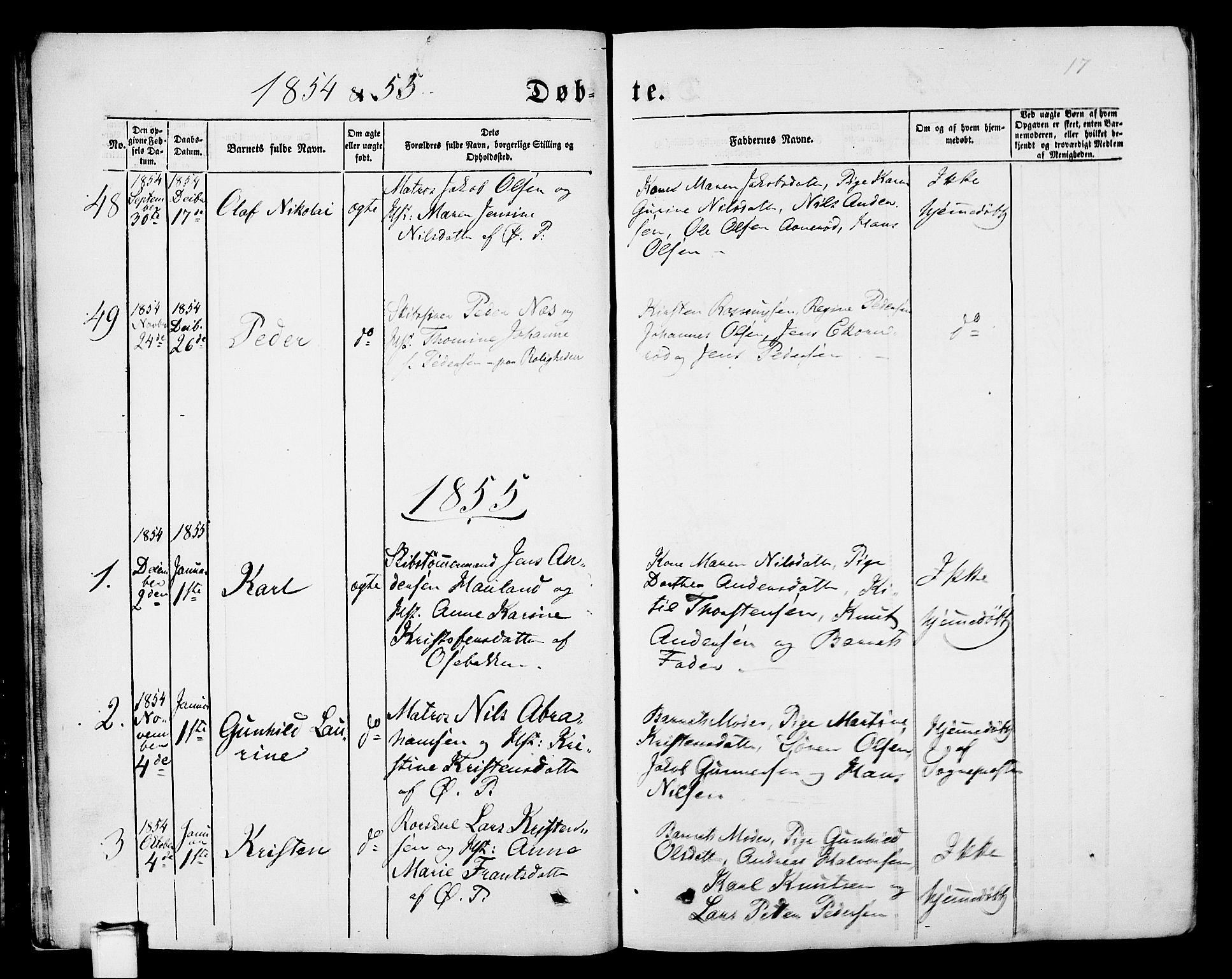 SAKO, Porsgrunn kirkebøker , G/Gb/L0004: Klokkerbok nr. II 4, 1853-1882, s. 17