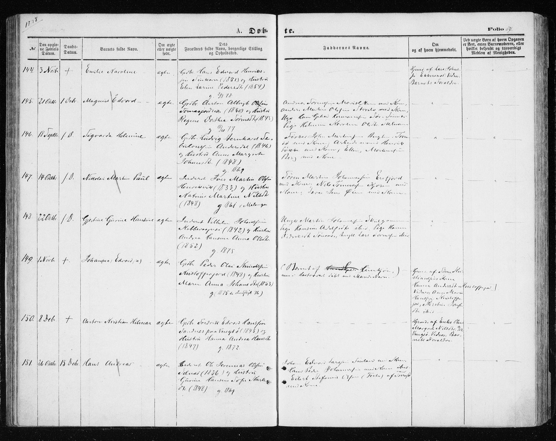 SATØ, Tromsøysund sokneprestkontor, G/Ga/L0003kirke: Ministerialbok nr. 3, 1875-1880, s. 67