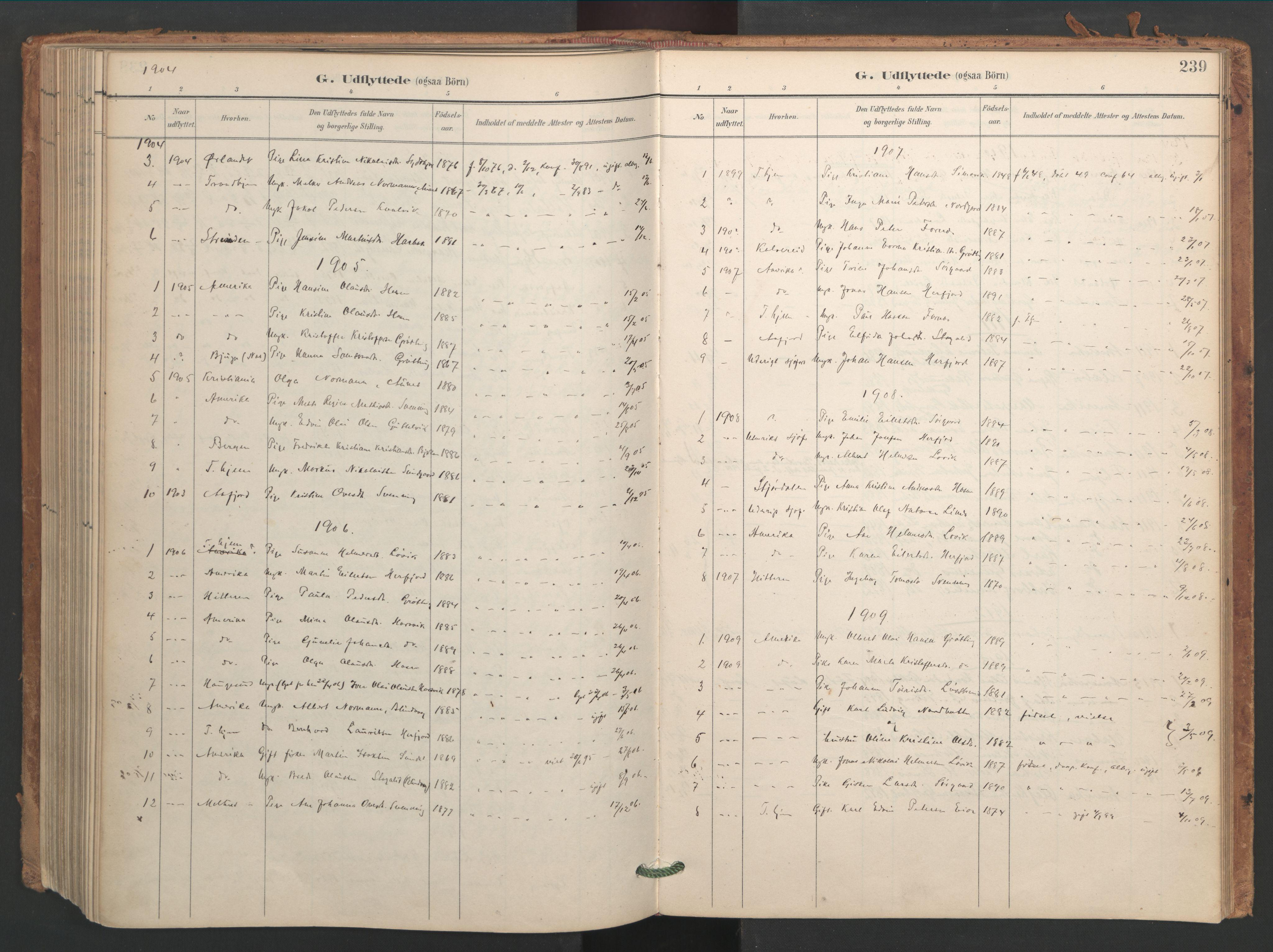 SAT, Ministerialprotokoller, klokkerbøker og fødselsregistre - Sør-Trøndelag, 656/L0693: Ministerialbok nr. 656A02, 1894-1913, s. 239