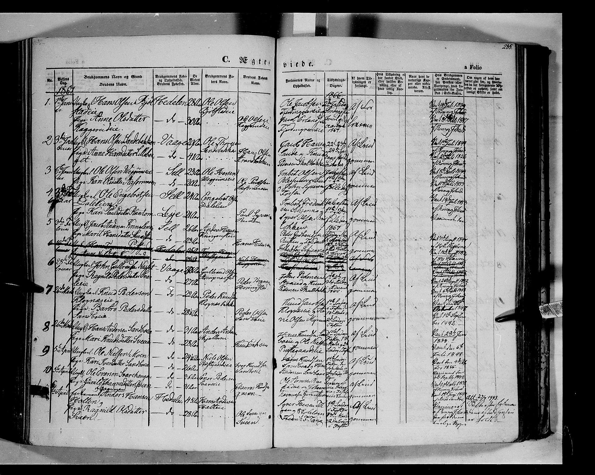 SAH, Vågå prestekontor, Ministerialbok nr. 6 /1, 1856-1872, s. 285