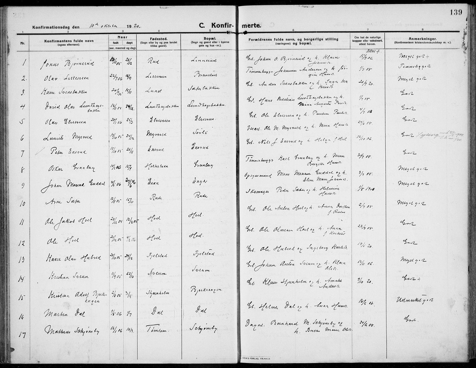 SAH, Kolbu prestekontor, Ministerialbok nr. 2, 1912-1926, s. 139