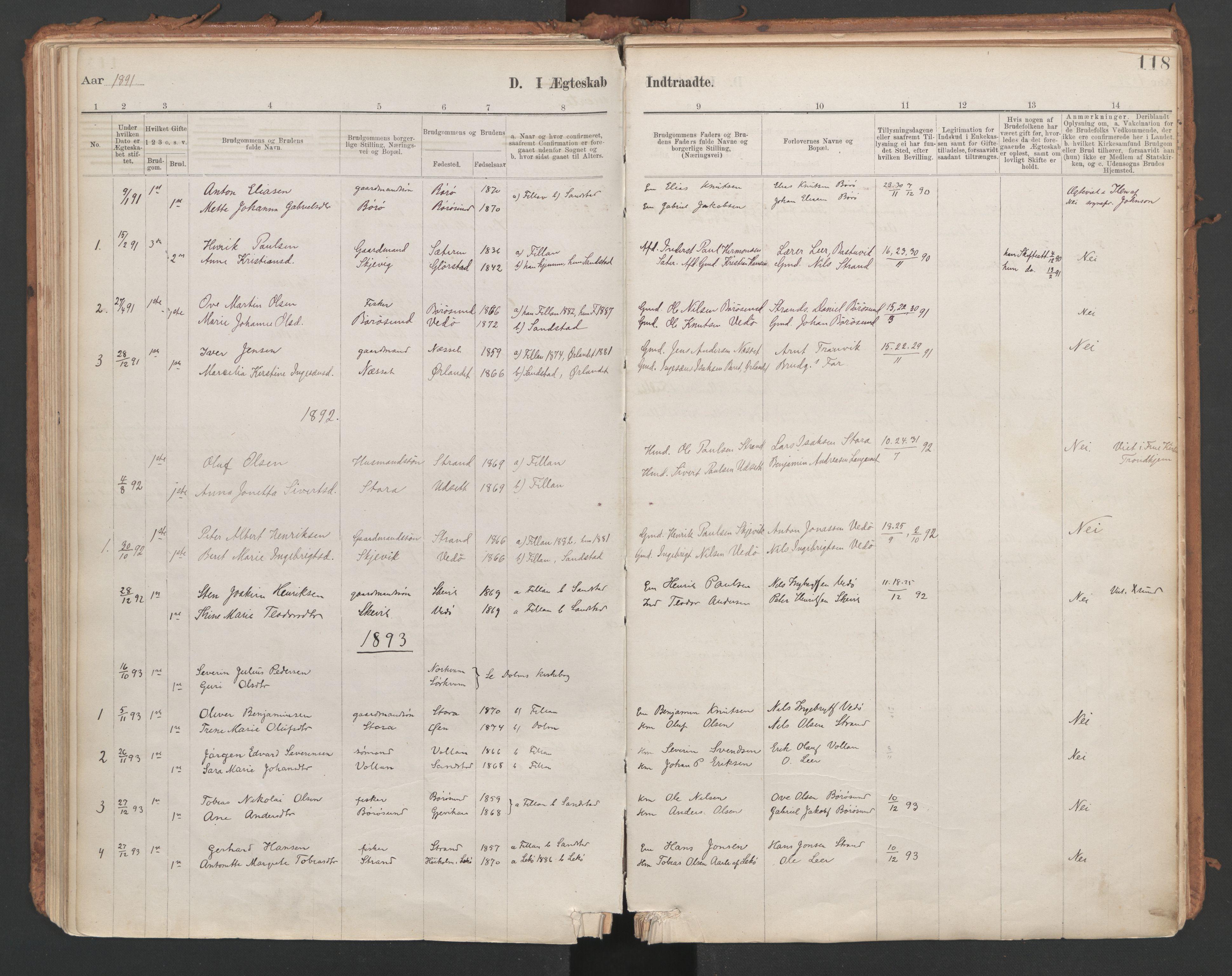 SAT, Ministerialprotokoller, klokkerbøker og fødselsregistre - Sør-Trøndelag, 639/L0572: Ministerialbok nr. 639A01, 1890-1920, s. 118