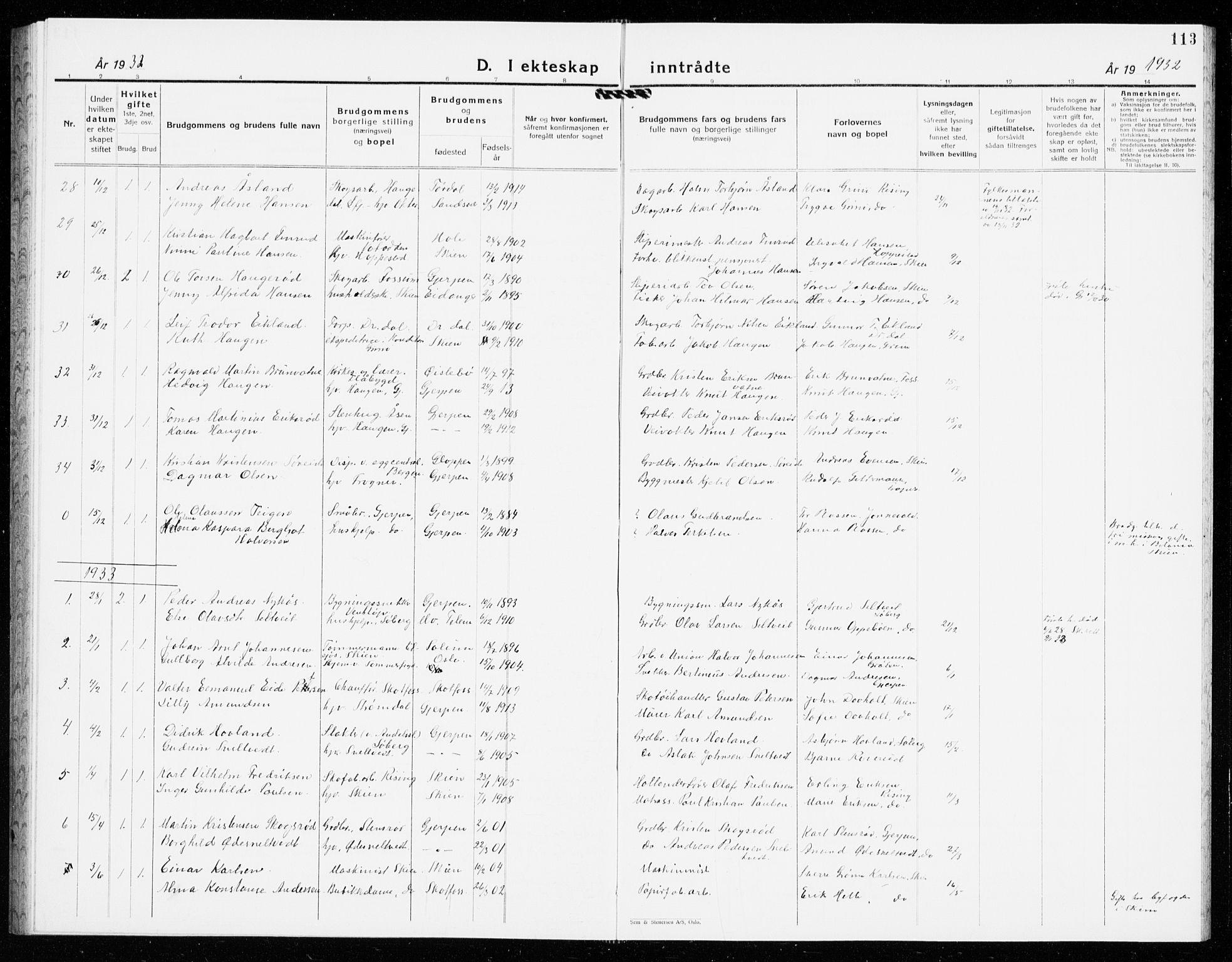 SAKO, Gjerpen kirkebøker, G/Ga/L0005: Klokkerbok nr. I 5, 1932-1940, s. 113