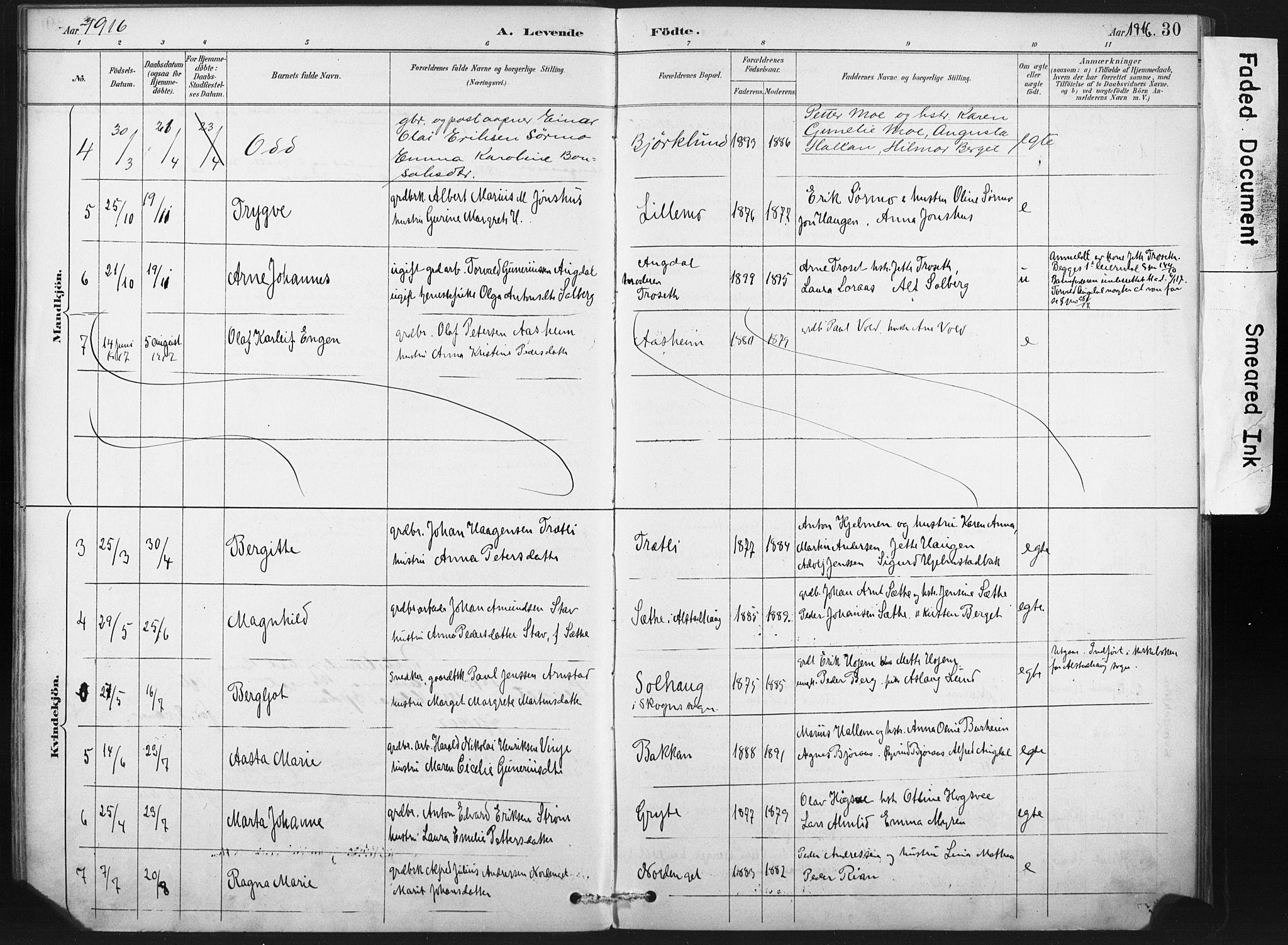 SAT, Ministerialprotokoller, klokkerbøker og fødselsregistre - Nord-Trøndelag, 718/L0175: Ministerialbok nr. 718A01, 1890-1923, s. 30