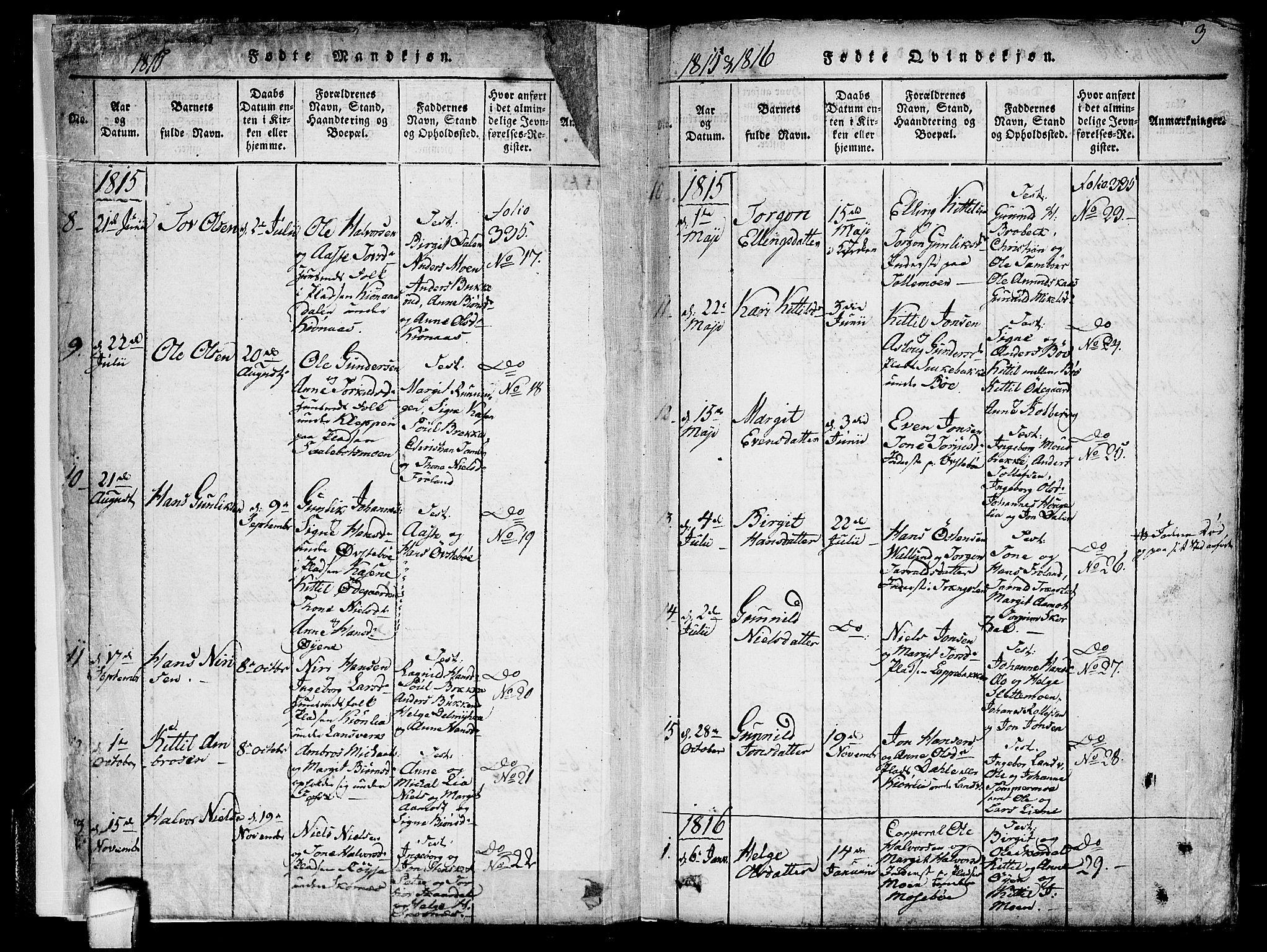 SAKO, Hjartdal kirkebøker, F/Fb/L0001: Ministerialbok nr. II 1, 1815-1843, s. 3
