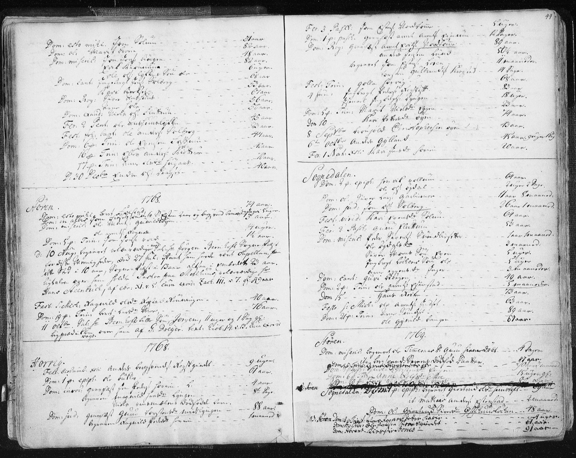 SAT, Ministerialprotokoller, klokkerbøker og fødselsregistre - Sør-Trøndelag, 687/L0991: Ministerialbok nr. 687A02, 1747-1790, s. 44