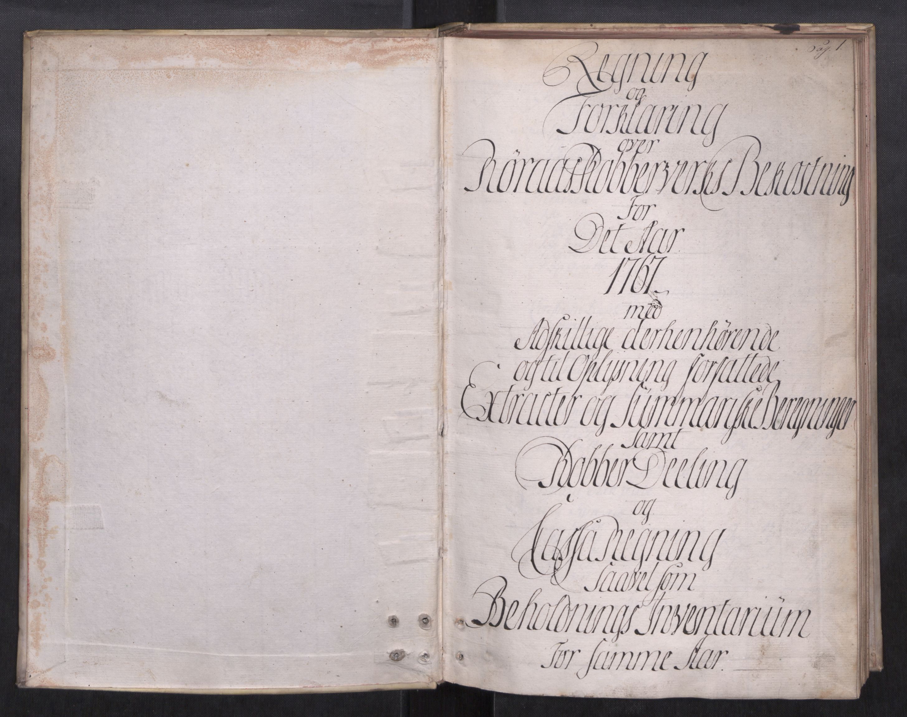 SAT, Røros kobberverk, 08/L0086: 8.1.85 Bergregnskap, 1767