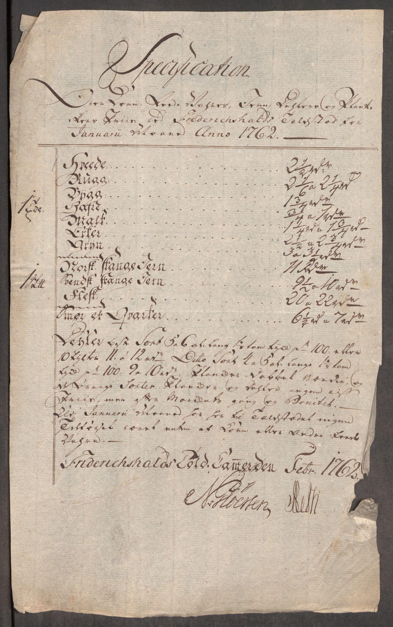 RA, Rentekammeret inntil 1814, Realistisk ordnet avdeling, Oe/L0007: [Ø1]: Priskuranter, 1761-1763, s. 262