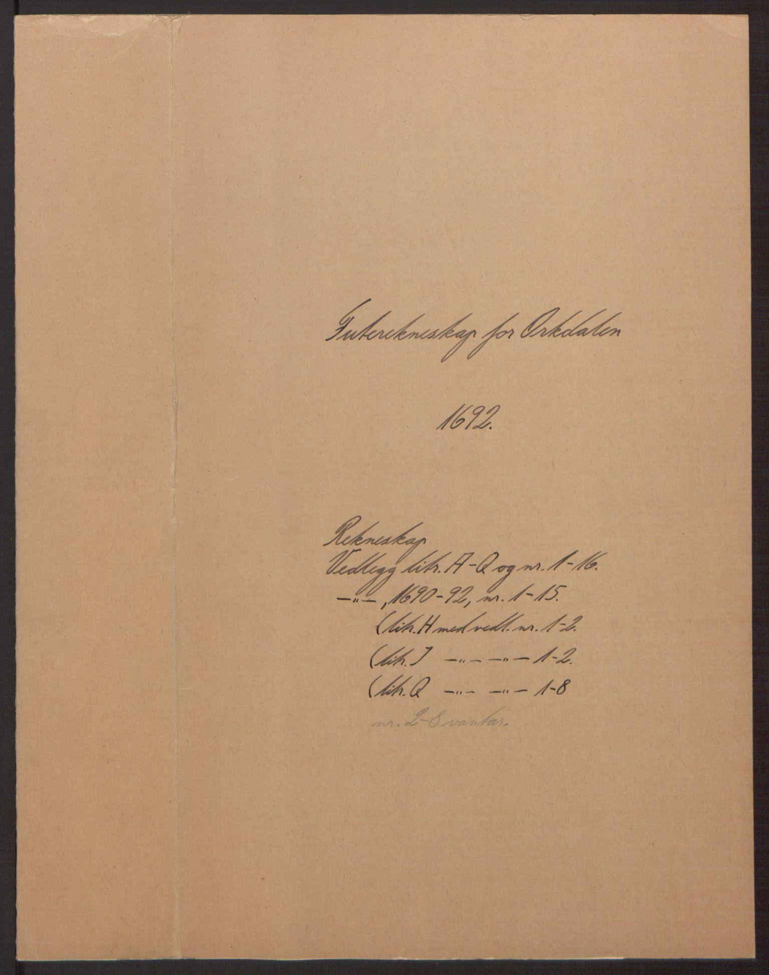 RA, Rentekammeret inntil 1814, Reviderte regnskaper, Fogderegnskap, R58/L3937: Fogderegnskap Orkdal, 1691-1692, s. 171