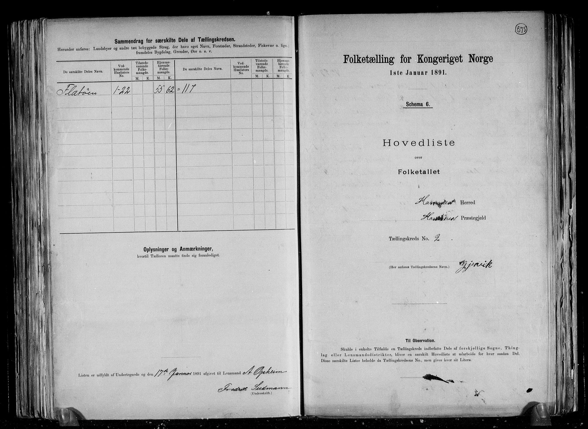 RA, Folketelling 1891 for 1254 Hamre herred, 1891, s. 9