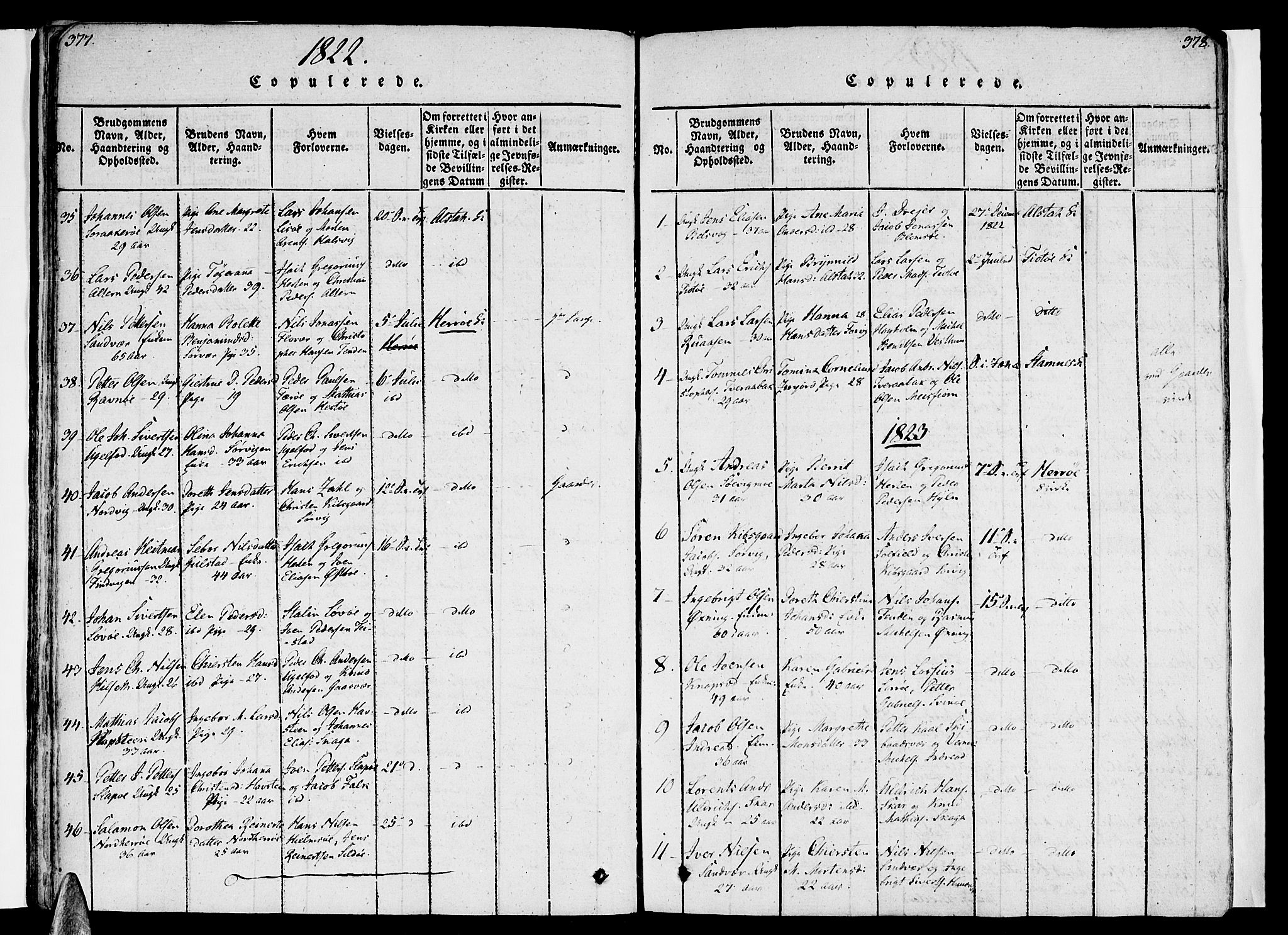 SAT, Ministerialprotokoller, klokkerbøker og fødselsregistre - Nordland, 830/L0445: Ministerialbok nr. 830A09, 1820-1830, s. 377-378