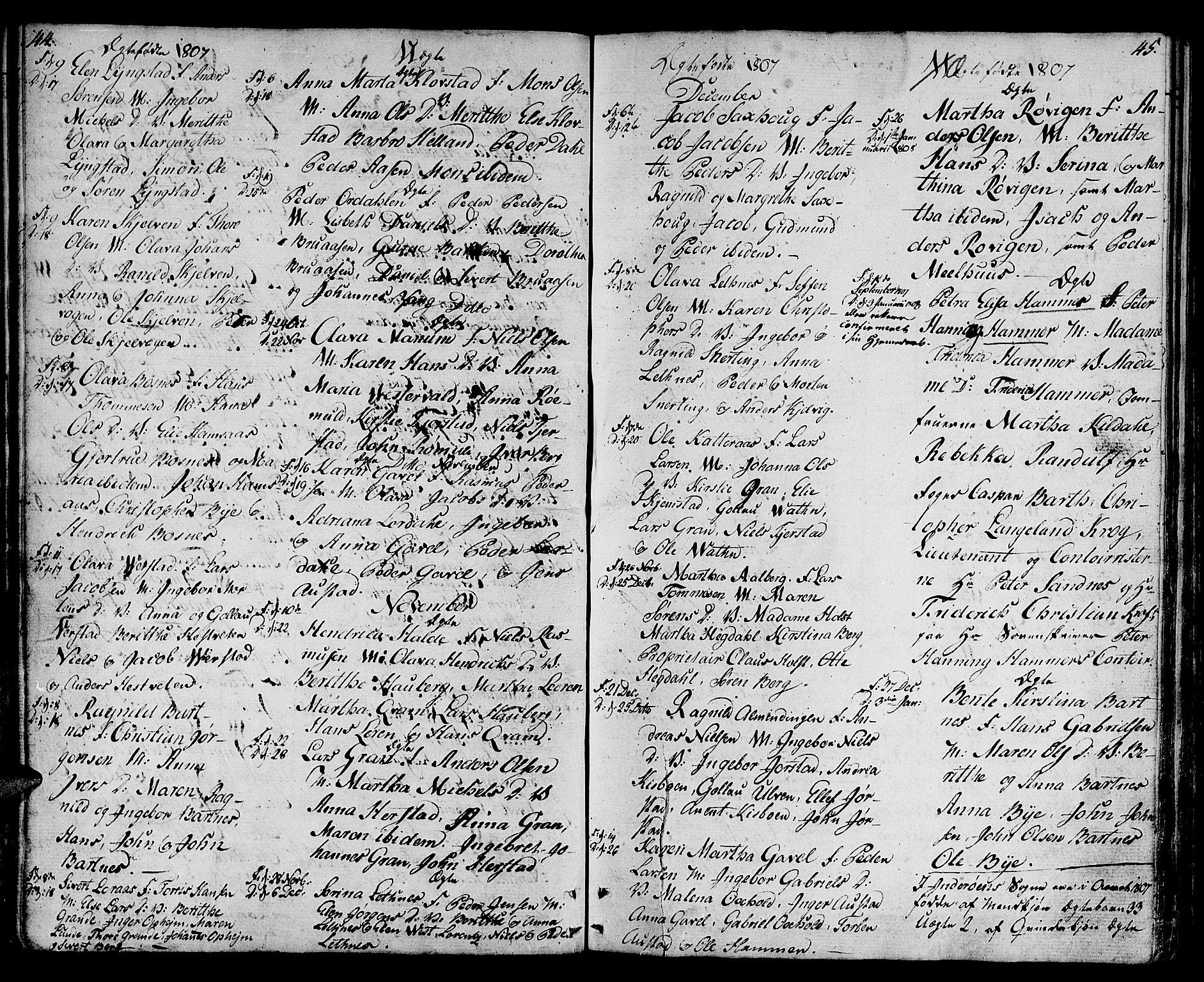 SAT, Ministerialprotokoller, klokkerbøker og fødselsregistre - Nord-Trøndelag, 730/L0274: Ministerialbok nr. 730A03, 1802-1816, s. 44-45