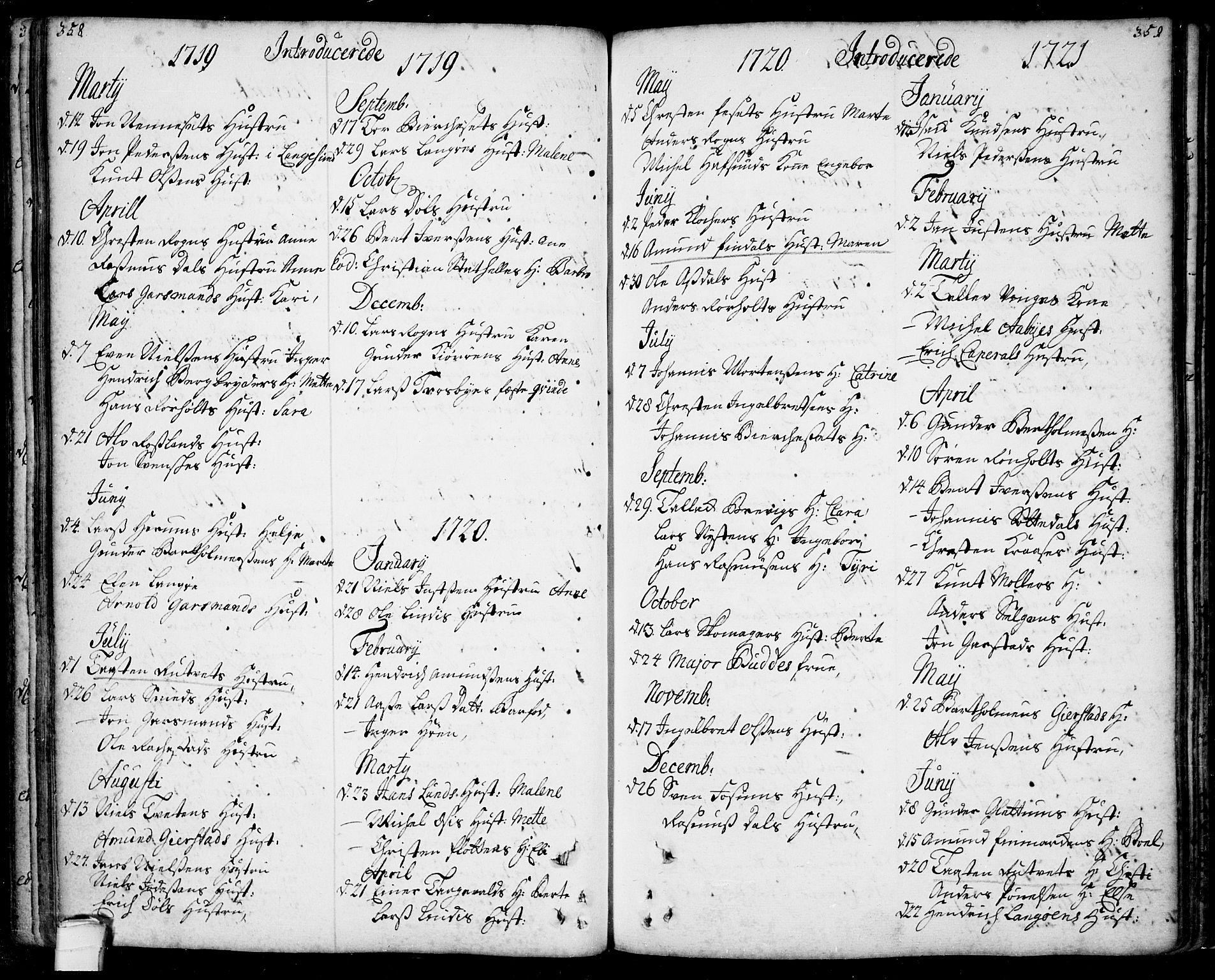 SAKO, Bamble kirkebøker, F/Fa/L0001: Ministerialbok nr. I 1, 1702-1774, s. 358-359