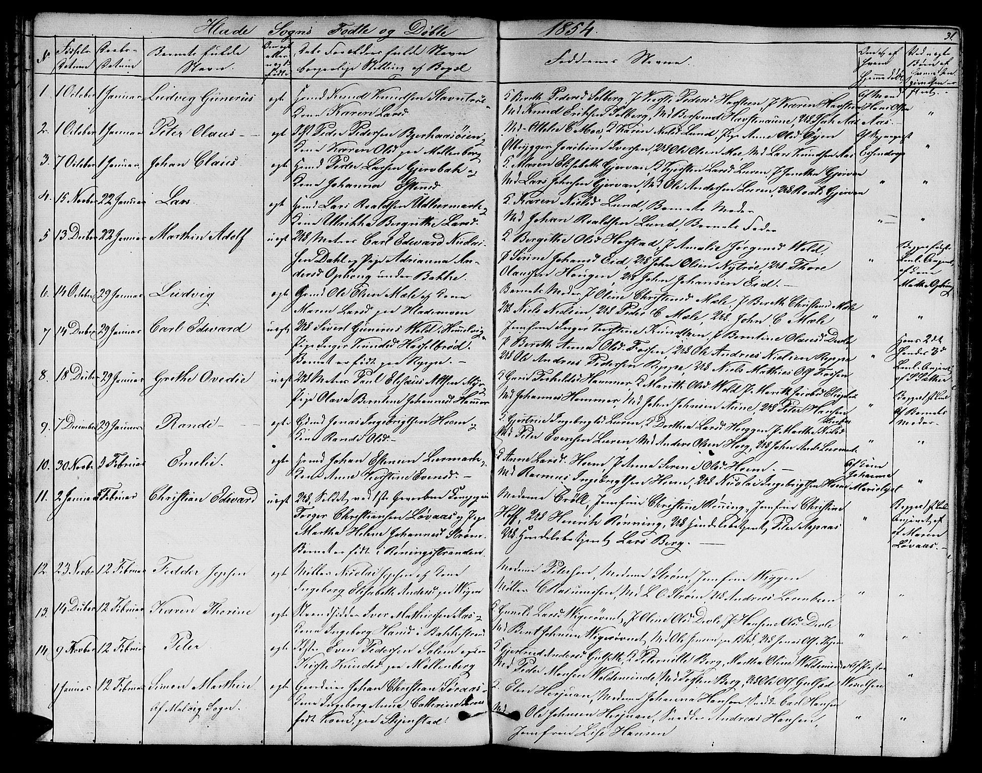 SAT, Ministerialprotokoller, klokkerbøker og fødselsregistre - Sør-Trøndelag, 606/L0310: Klokkerbok nr. 606C06, 1850-1859, s. 31