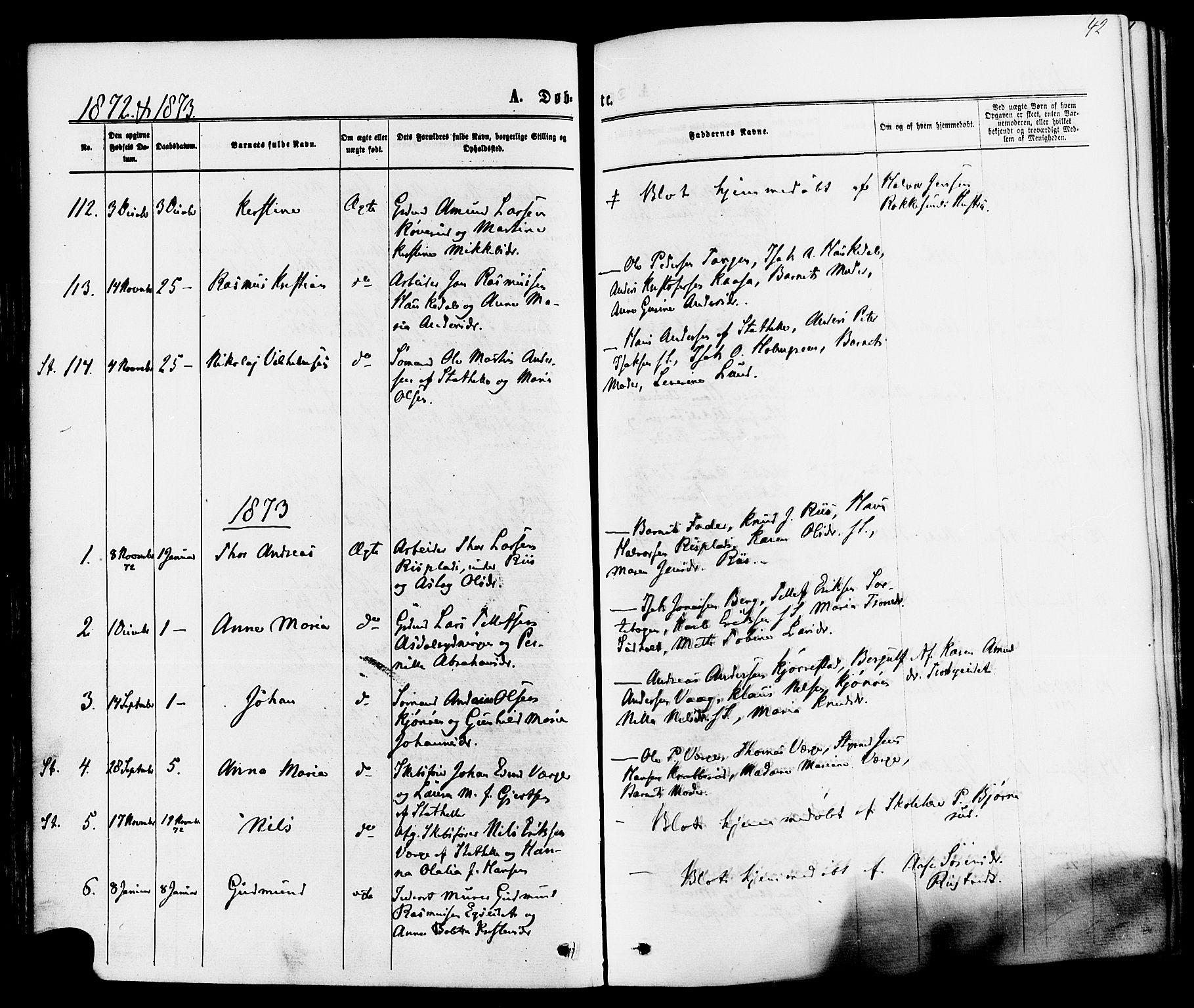 SAKO, Bamble kirkebøker, F/Fa/L0006: Ministerialbok nr. I 6, 1869-1877, s. 42