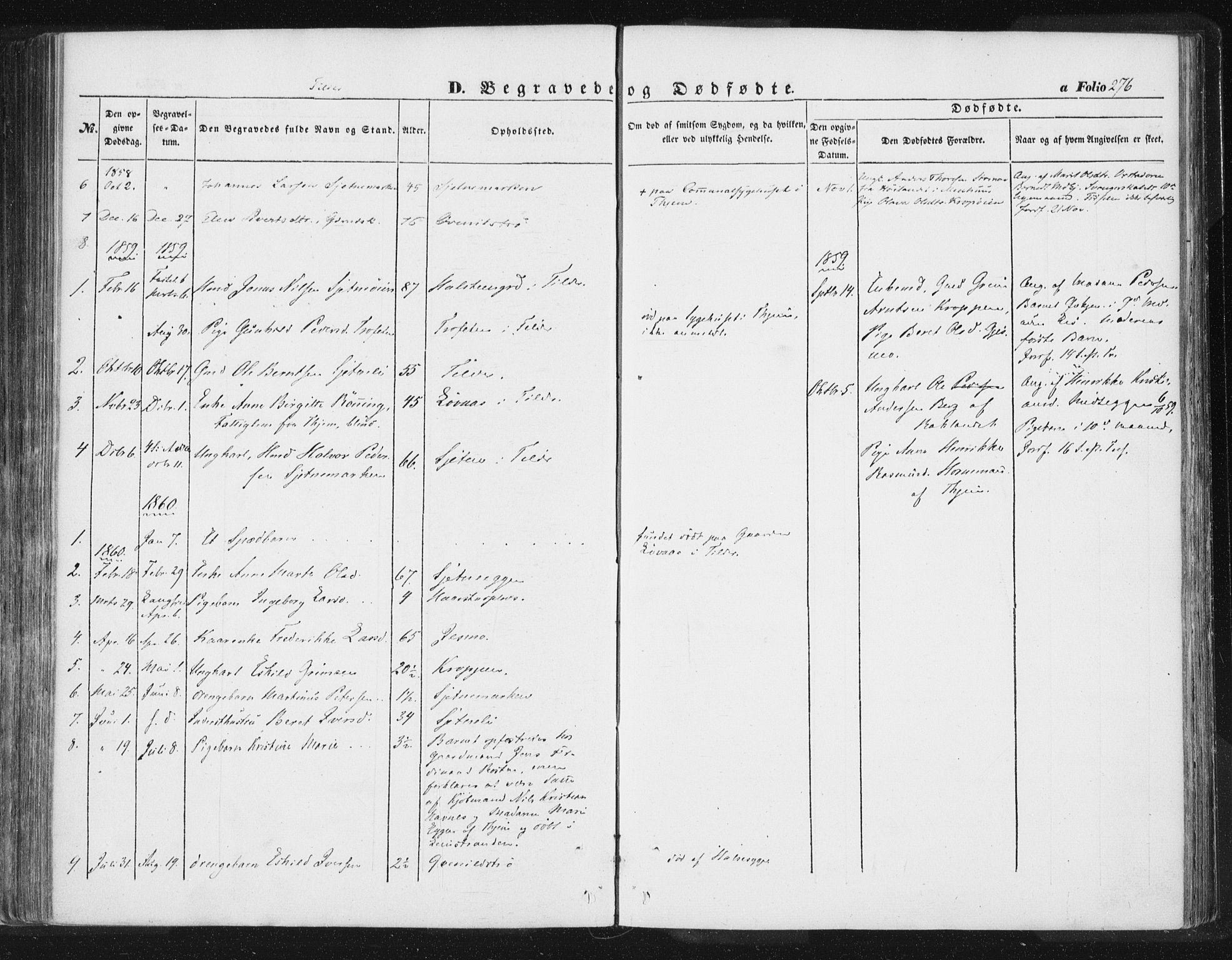 SAT, Ministerialprotokoller, klokkerbøker og fødselsregistre - Sør-Trøndelag, 618/L0441: Ministerialbok nr. 618A05, 1843-1862, s. 276