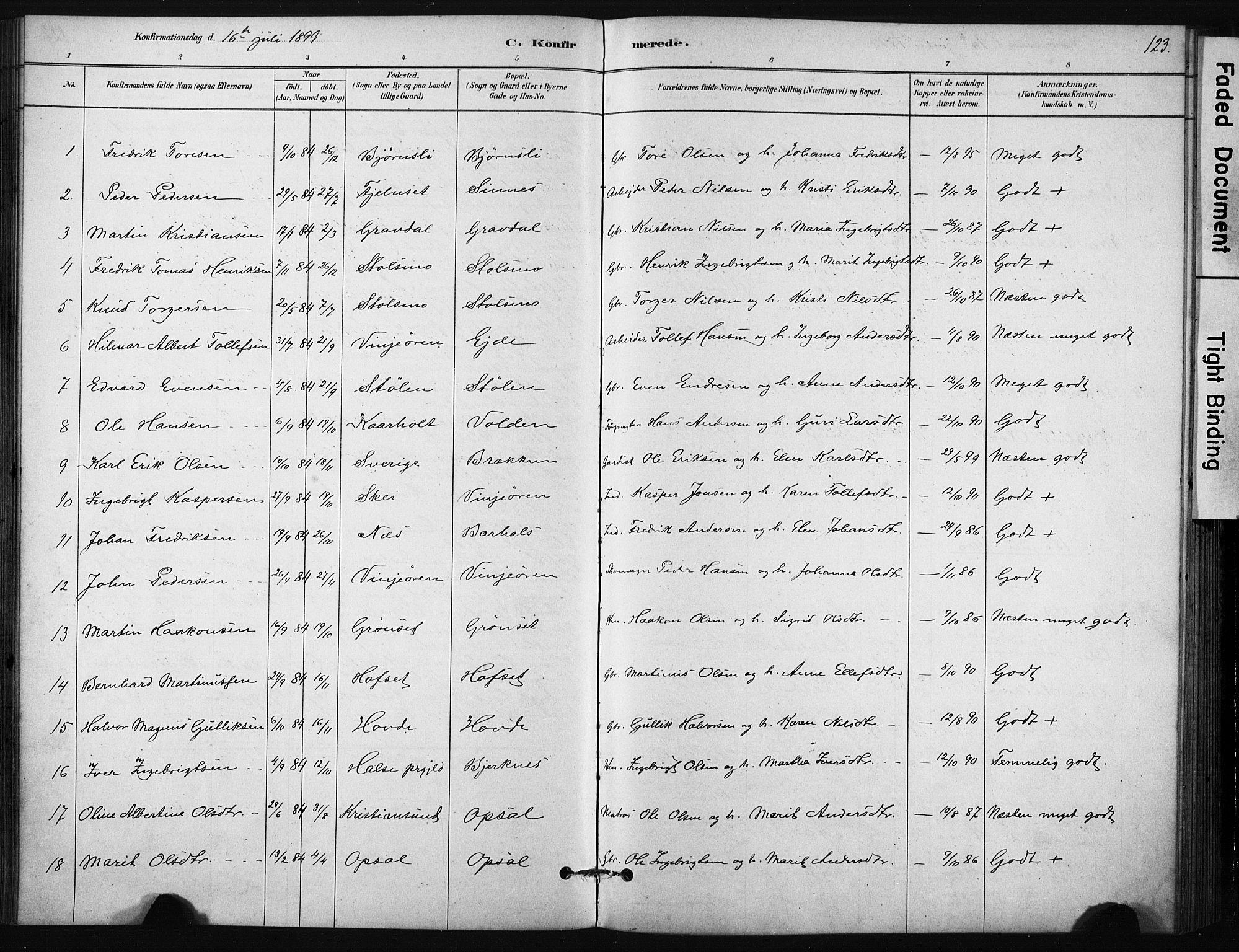 SAT, Ministerialprotokoller, klokkerbøker og fødselsregistre - Sør-Trøndelag, 631/L0512: Ministerialbok nr. 631A01, 1879-1912, s. 123