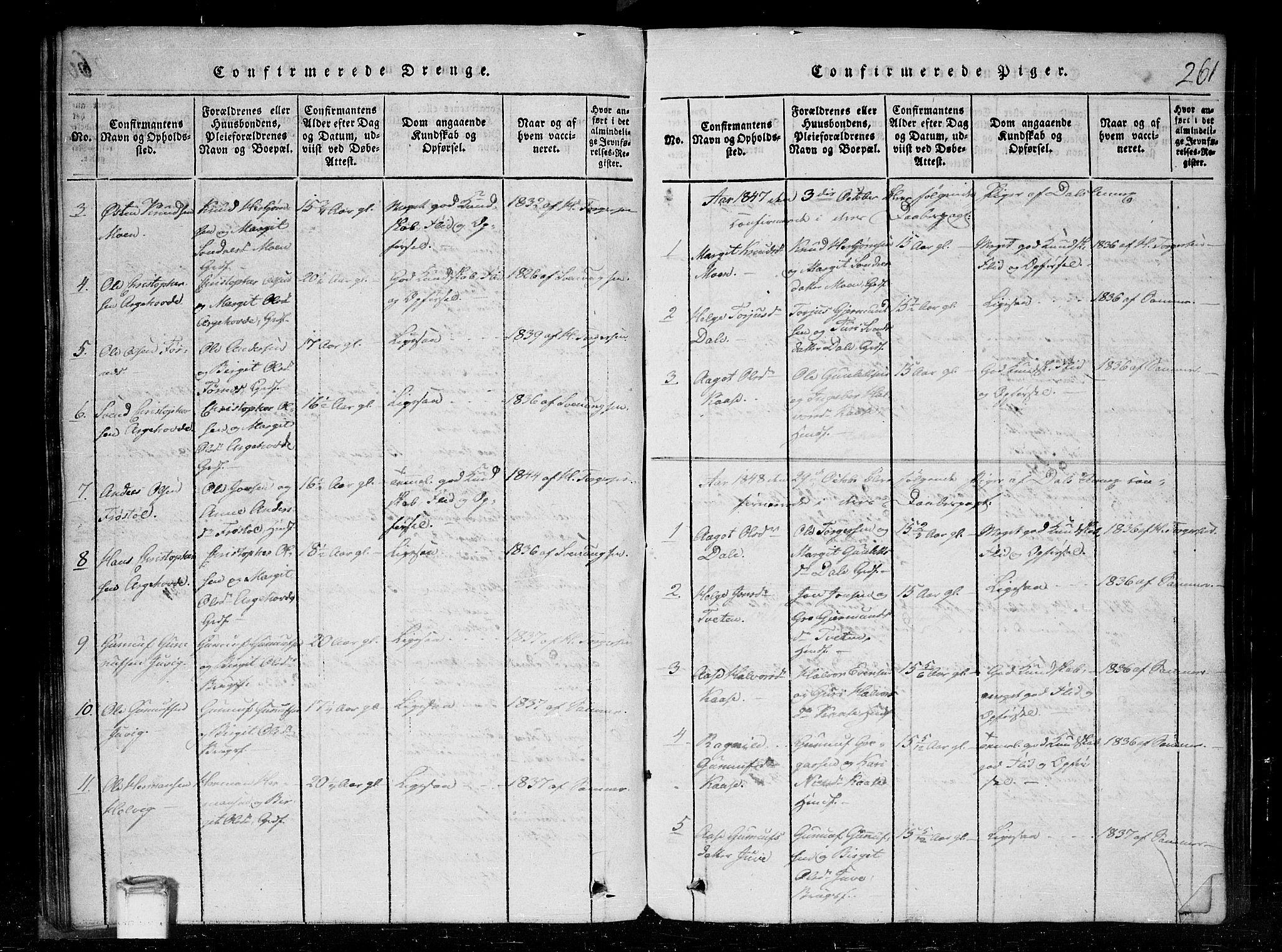 SAKO, Tinn kirkebøker, G/Gc/L0001: Klokkerbok nr. III 1, 1815-1879, s. 261