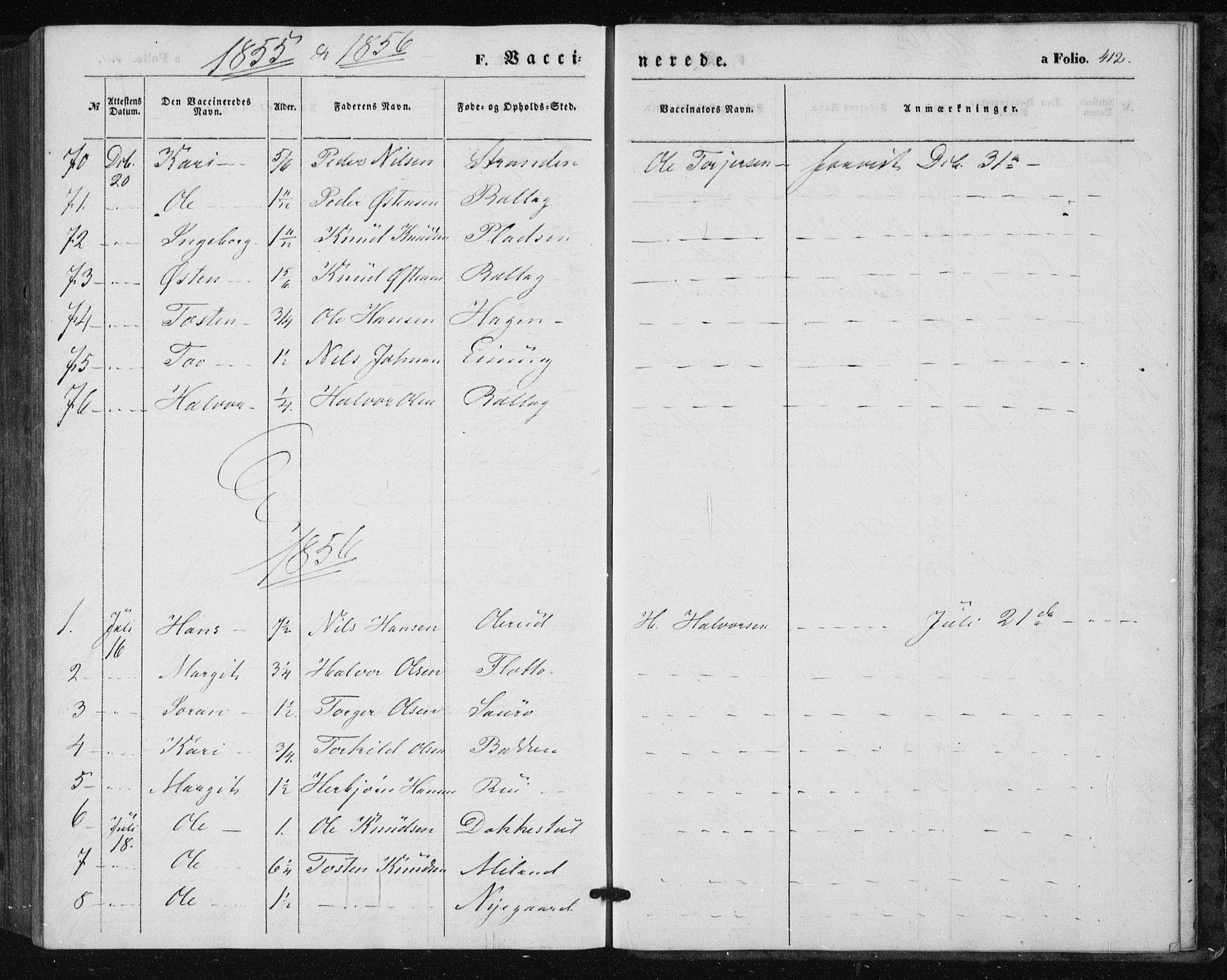 SAKO, Tinn kirkebøker, F/Fa/L0005: Ministerialbok nr. I 5, 1844-1856, s. 412