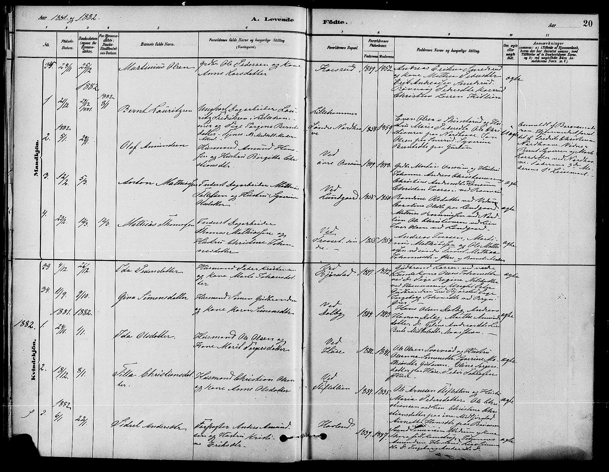 SAH, Fåberg prestekontor, Ministerialbok nr. 8, 1879-1898, s. 20