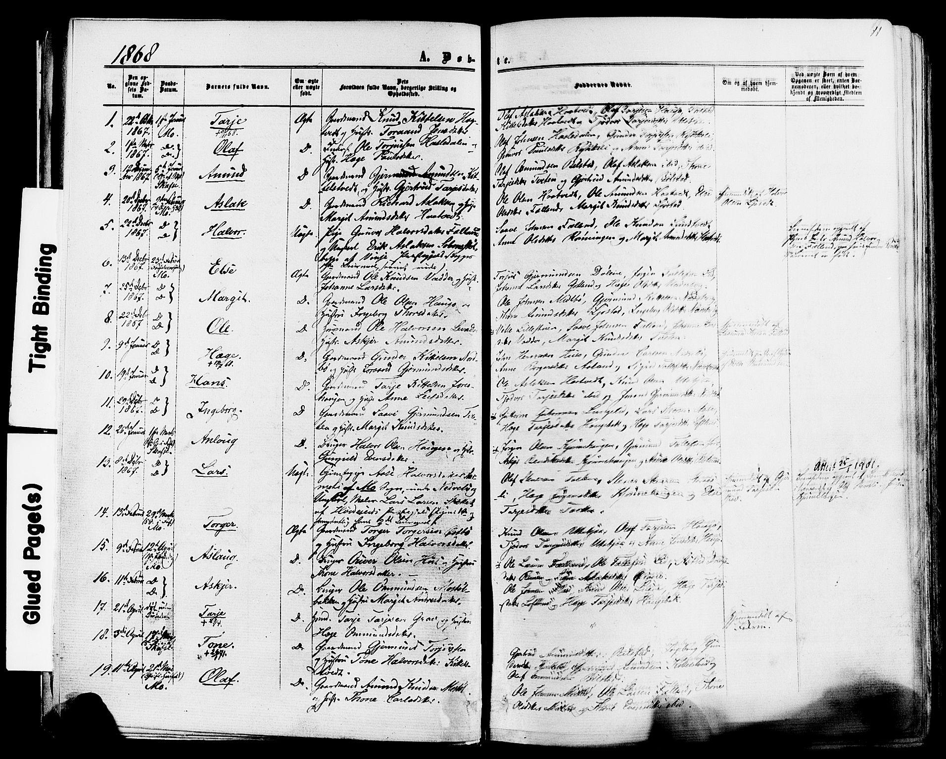 SAKO, Mo kirkebøker, F/Fa/L0006: Ministerialbok nr. I 6, 1865-1885, s. 11