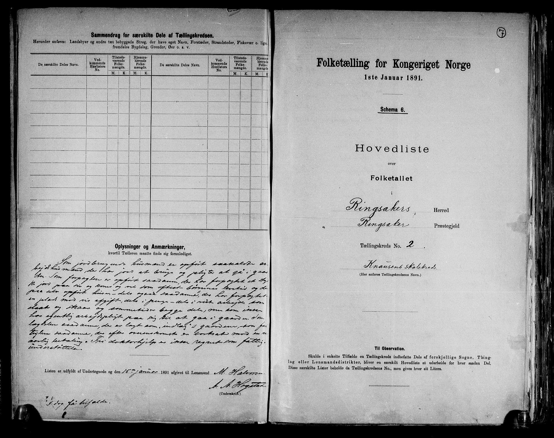 RA, Folketelling 1891 for 0412 Ringsaker herred, 1891, s. 7