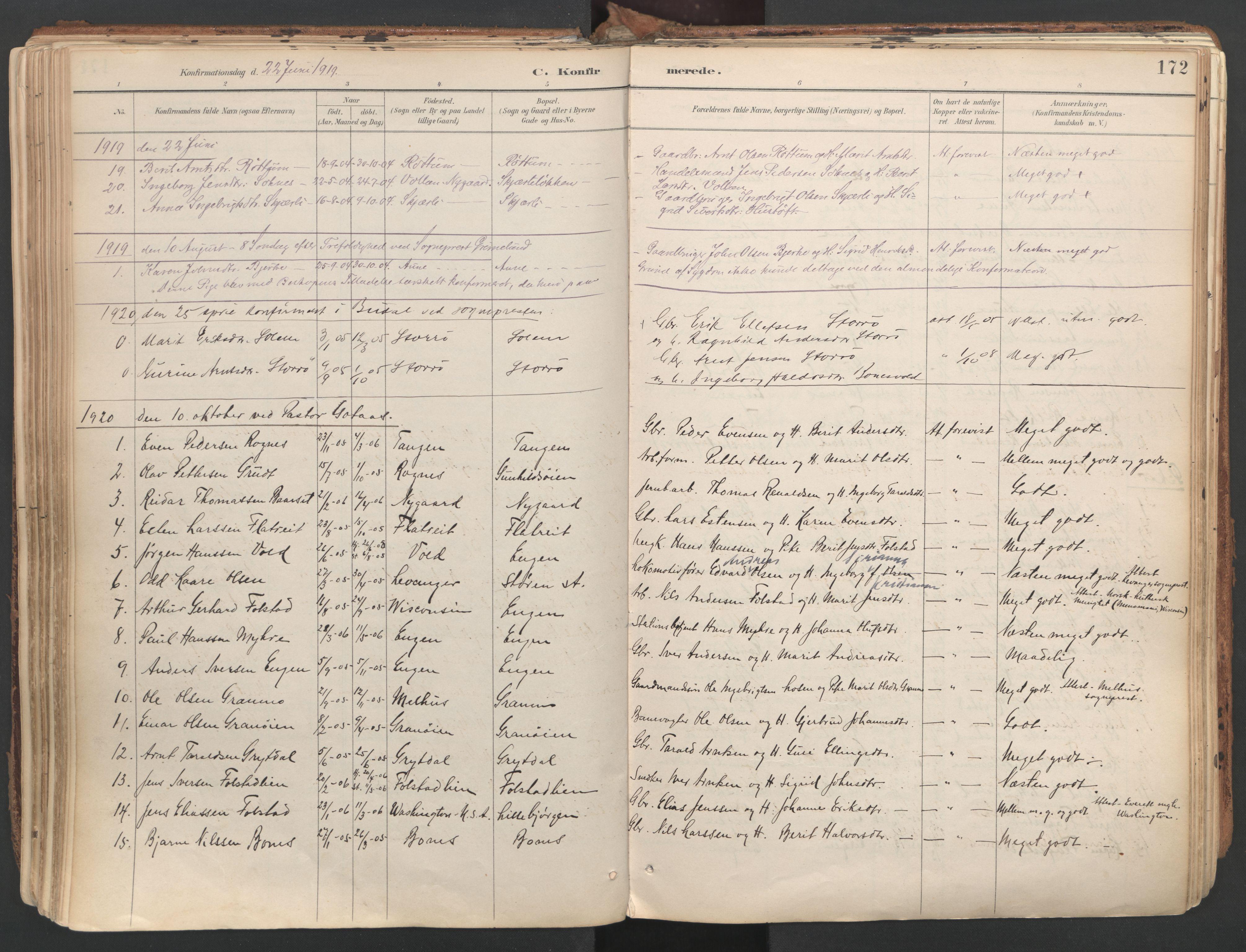 SAT, Ministerialprotokoller, klokkerbøker og fødselsregistre - Sør-Trøndelag, 687/L1004: Ministerialbok nr. 687A10, 1891-1923, s. 172