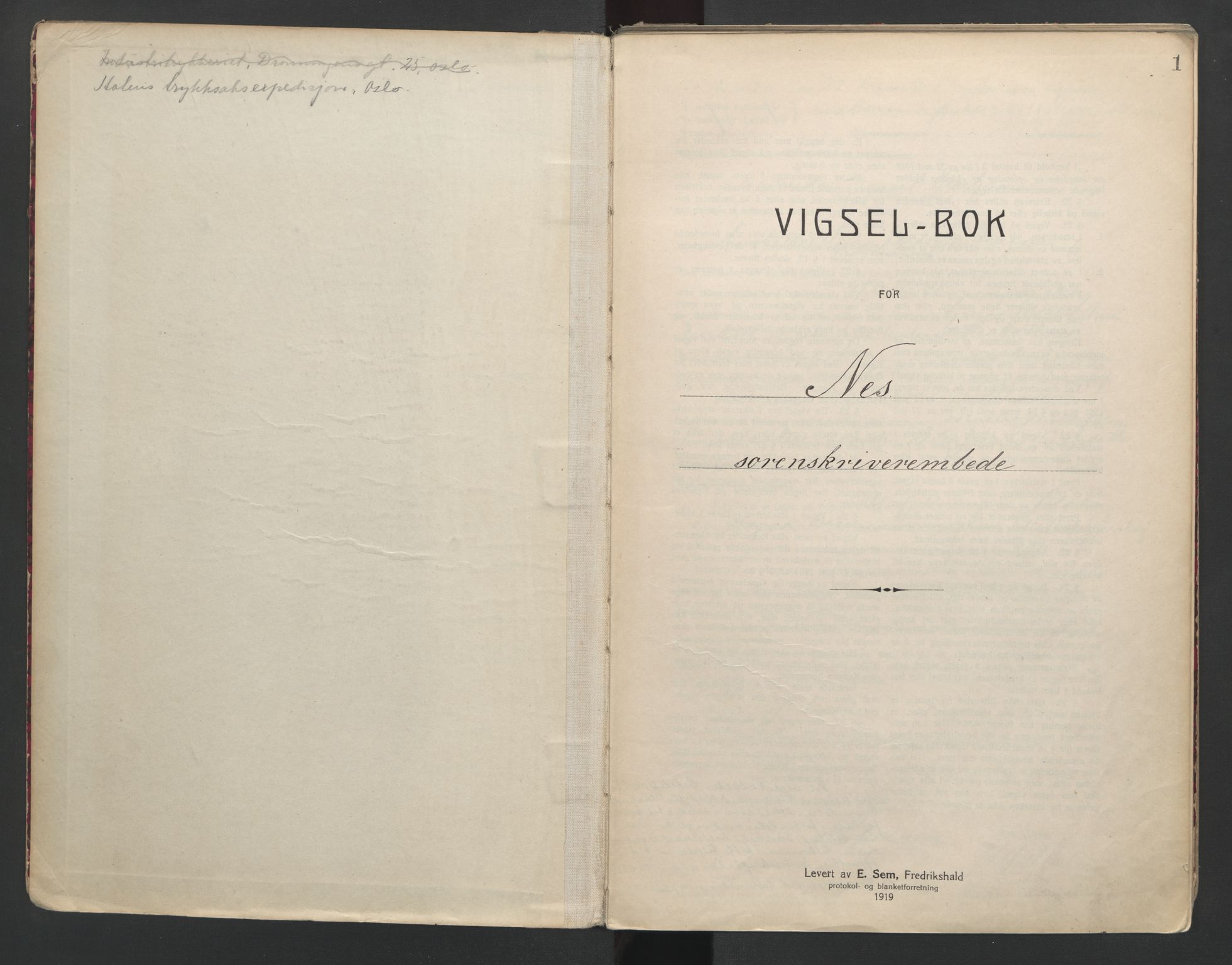 SAO, Nes tingrett, L/Lc/Lca/L0001: Vigselbok, 1920-1943, s. 1