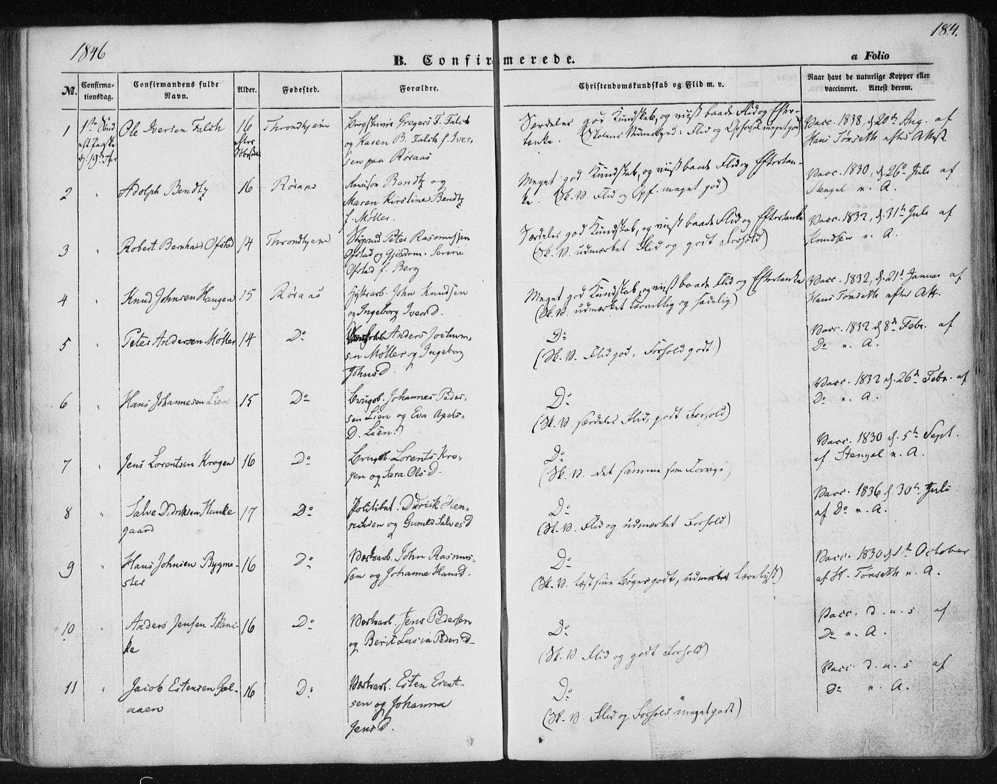 SAT, Ministerialprotokoller, klokkerbøker og fødselsregistre - Sør-Trøndelag, 681/L0931: Ministerialbok nr. 681A09, 1845-1859, s. 184