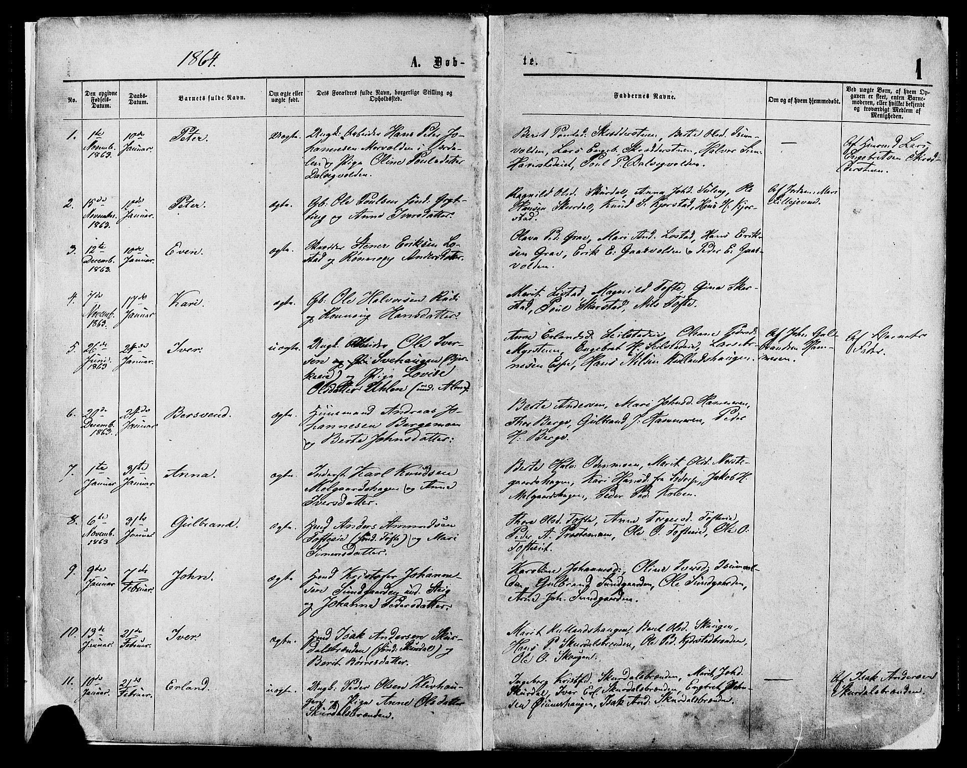 SAH, Sør-Fron prestekontor, H/Ha/Haa/L0002: Ministerialbok nr. 2, 1864-1880, s. 1