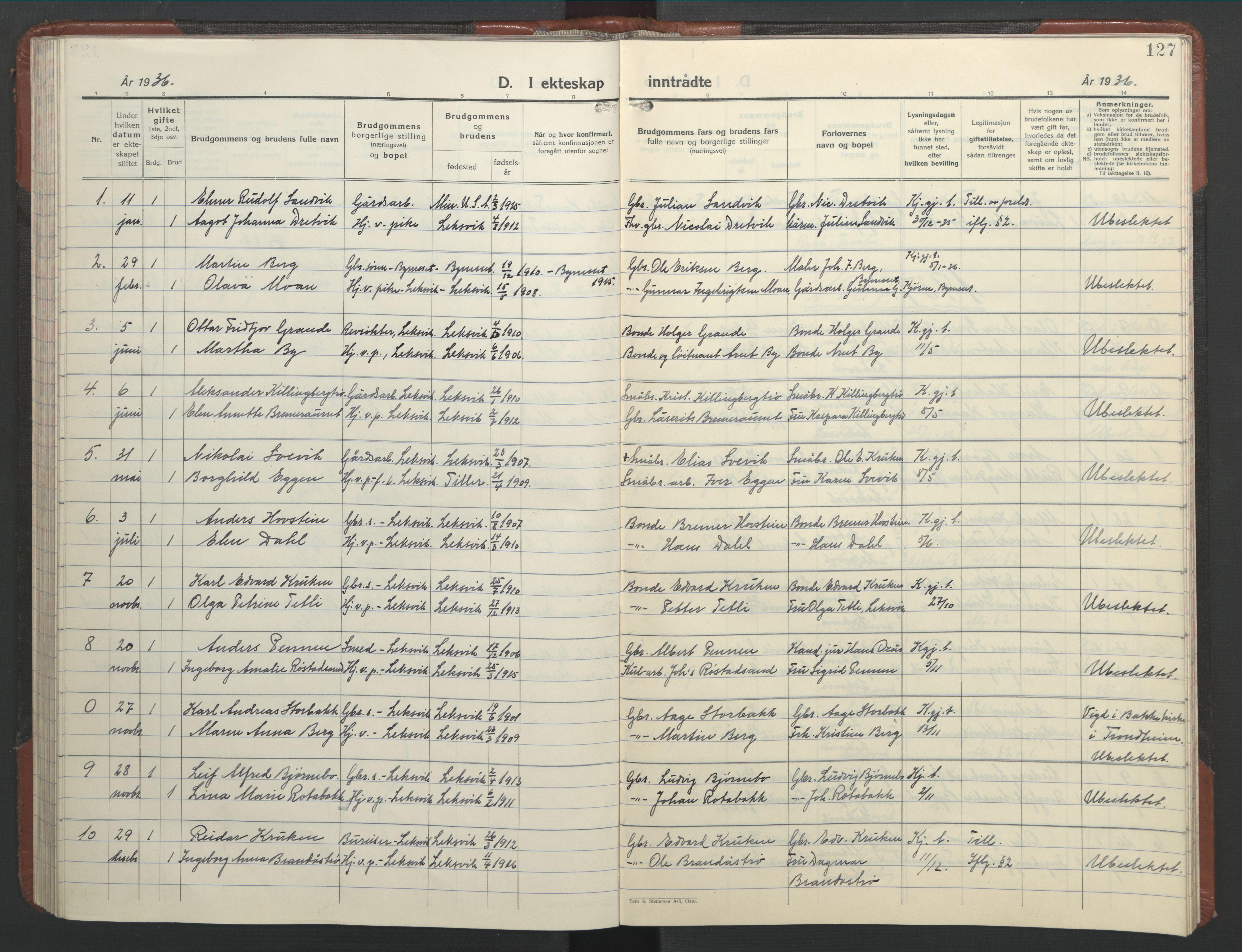 SAT, Ministerialprotokoller, klokkerbøker og fødselsregistre - Nord-Trøndelag, 701/L0019: Klokkerbok nr. 701C03, 1930-1953, s. 127