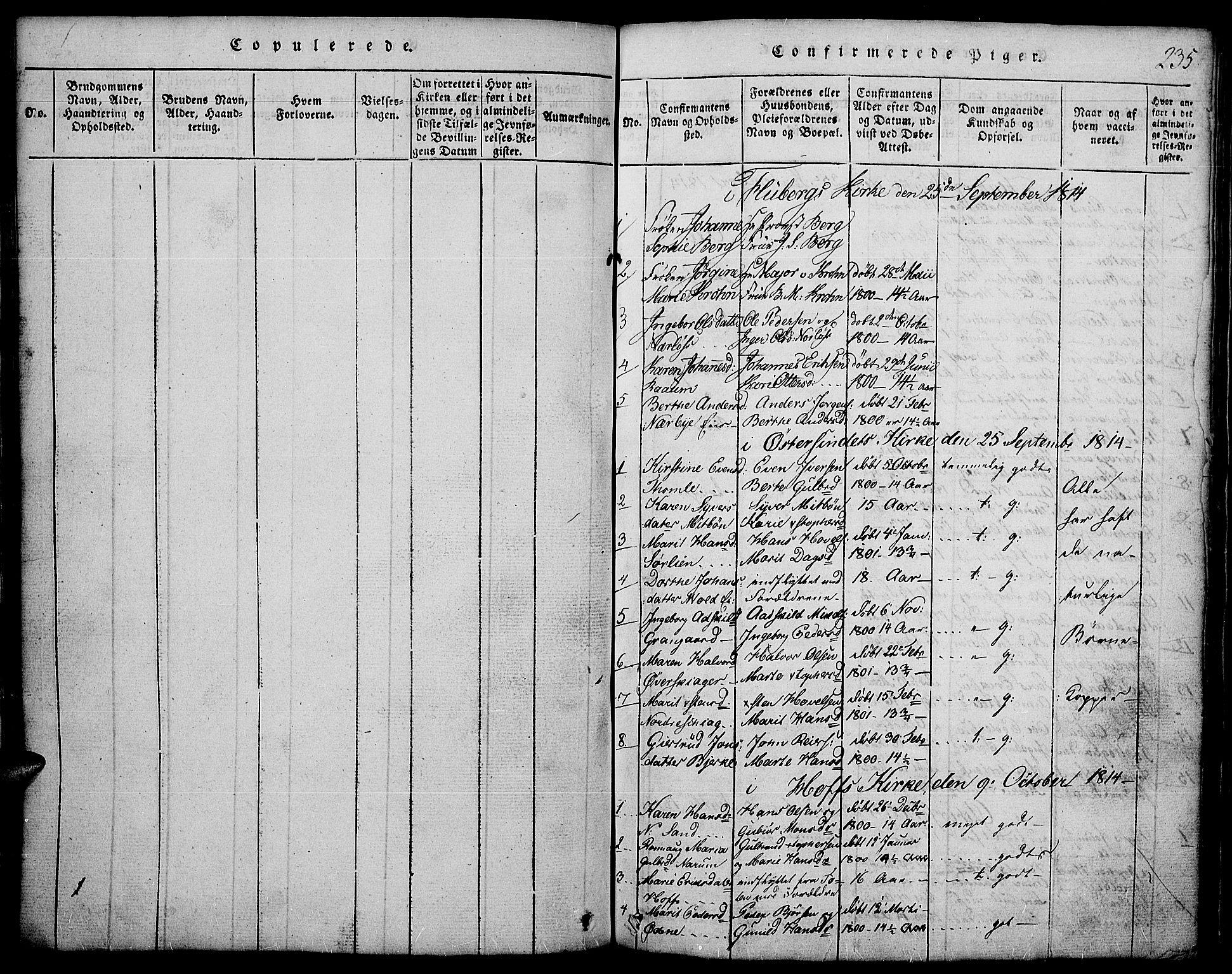 SAH, Land prestekontor, Klokkerbok nr. 1, 1814-1833, s. 235