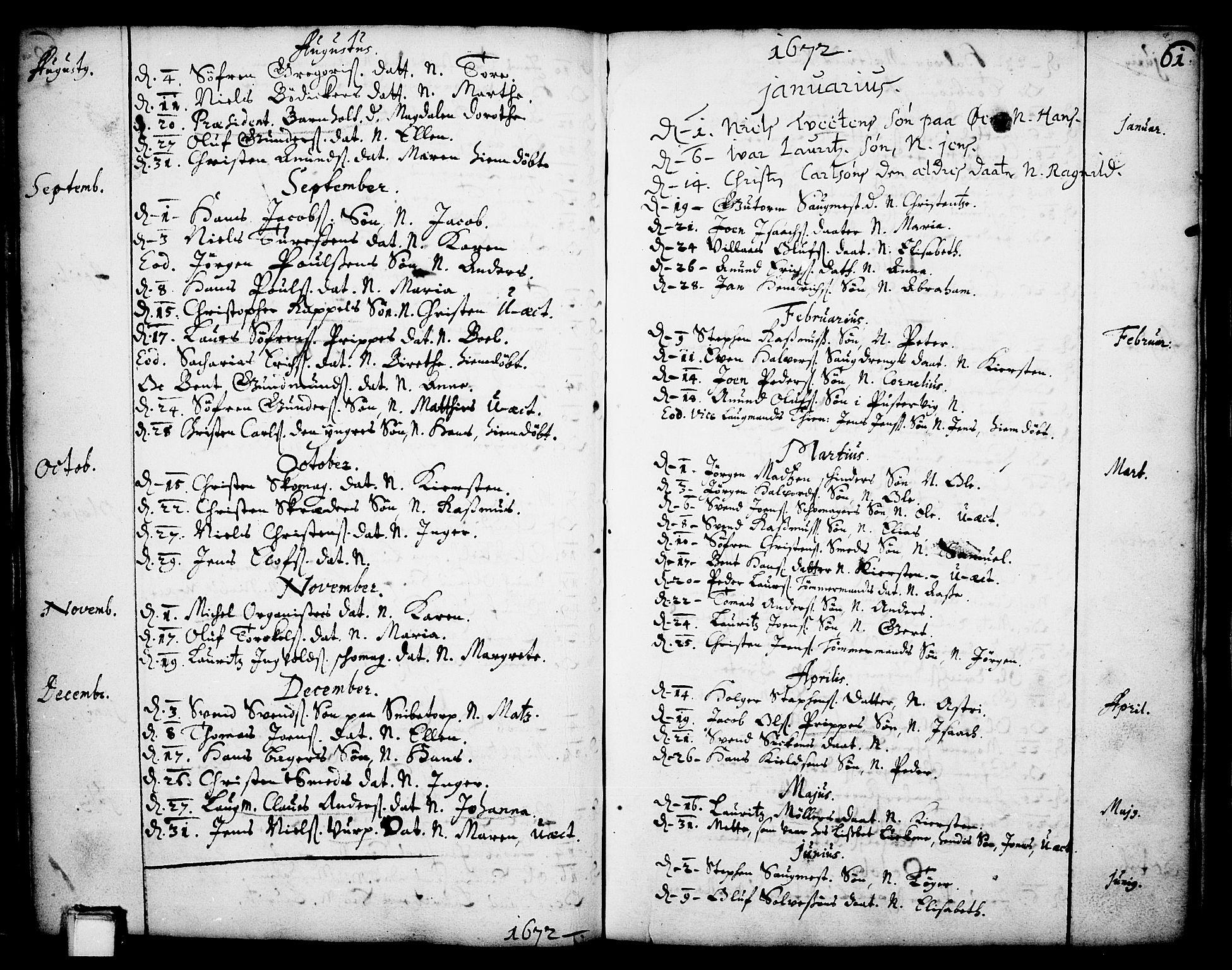 SAKO, Skien kirkebøker, F/Fa/L0001: Ministerialbok nr. 1, 1659-1679, s. 61
