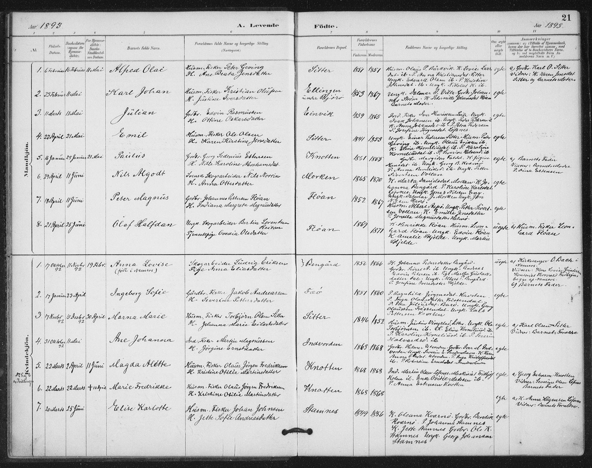 SAT, Ministerialprotokoller, klokkerbøker og fødselsregistre - Nord-Trøndelag, 772/L0603: Ministerialbok nr. 772A01, 1885-1912, s. 21