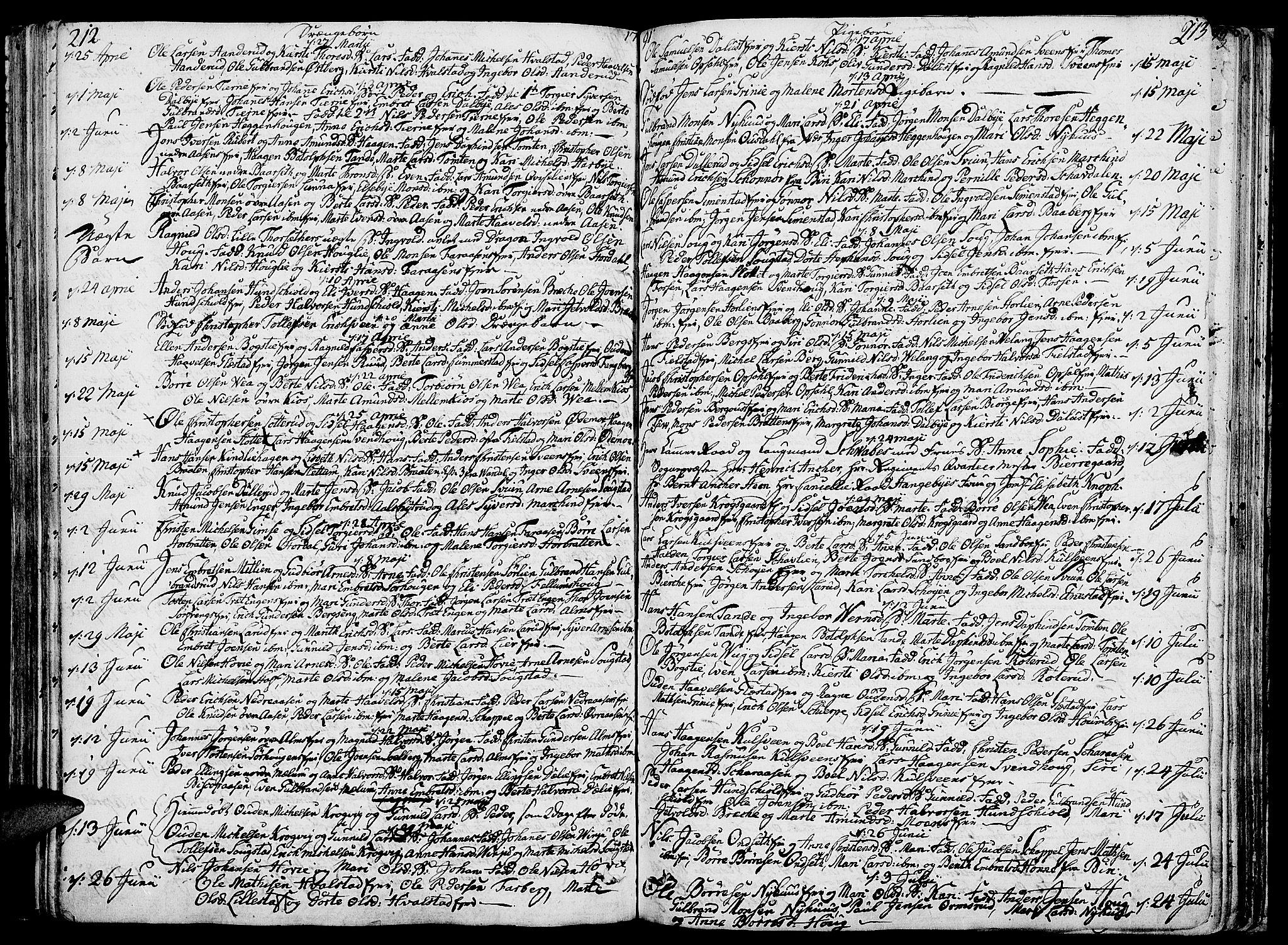 SAH, Ringsaker prestekontor, K/Ka/L0003: Ministerialbok nr. 3, 1775-1798, s. 212-213