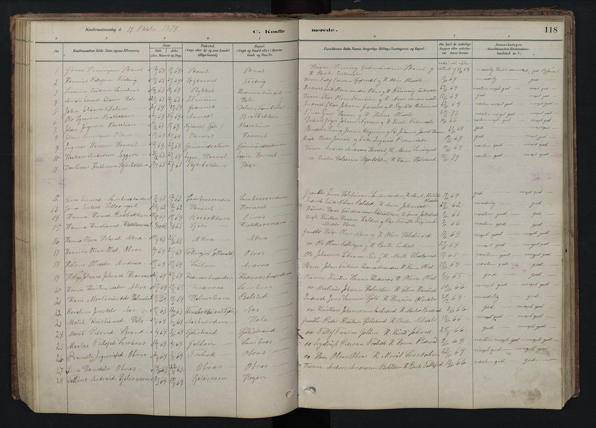 SAH, Rendalen prestekontor, H/Ha/Hab/L0009: Klokkerbok nr. 9, 1879-1902, s. 118