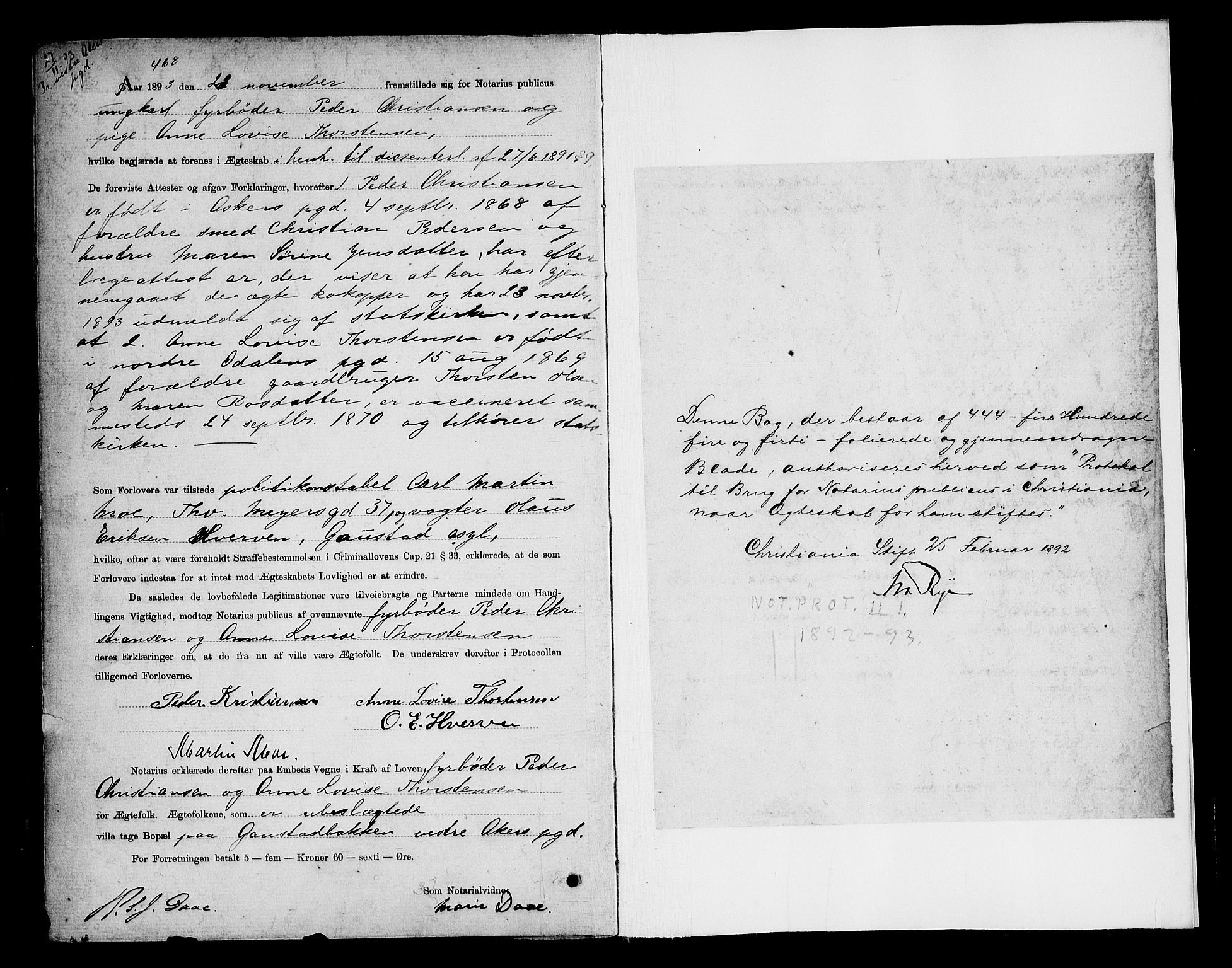SAO, Oslo byfogd avd. I, L/Lb/Lbb/L0001: Notarialprotokoll, rekke II: Vigsler, 1892-1893, s. 444b-445a
