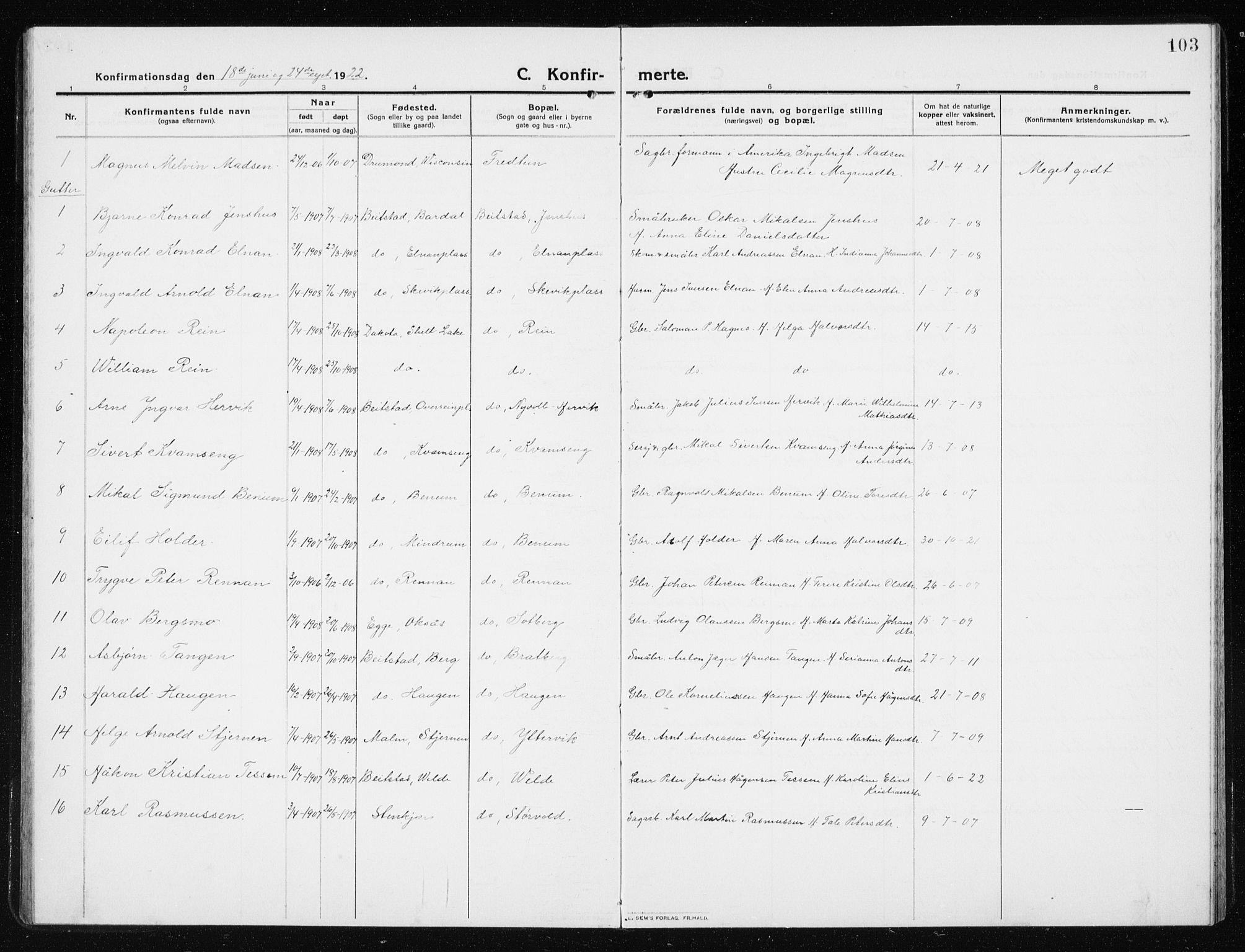 SAT, Ministerialprotokoller, klokkerbøker og fødselsregistre - Nord-Trøndelag, 741/L0402: Klokkerbok nr. 741C03, 1911-1926, s. 103