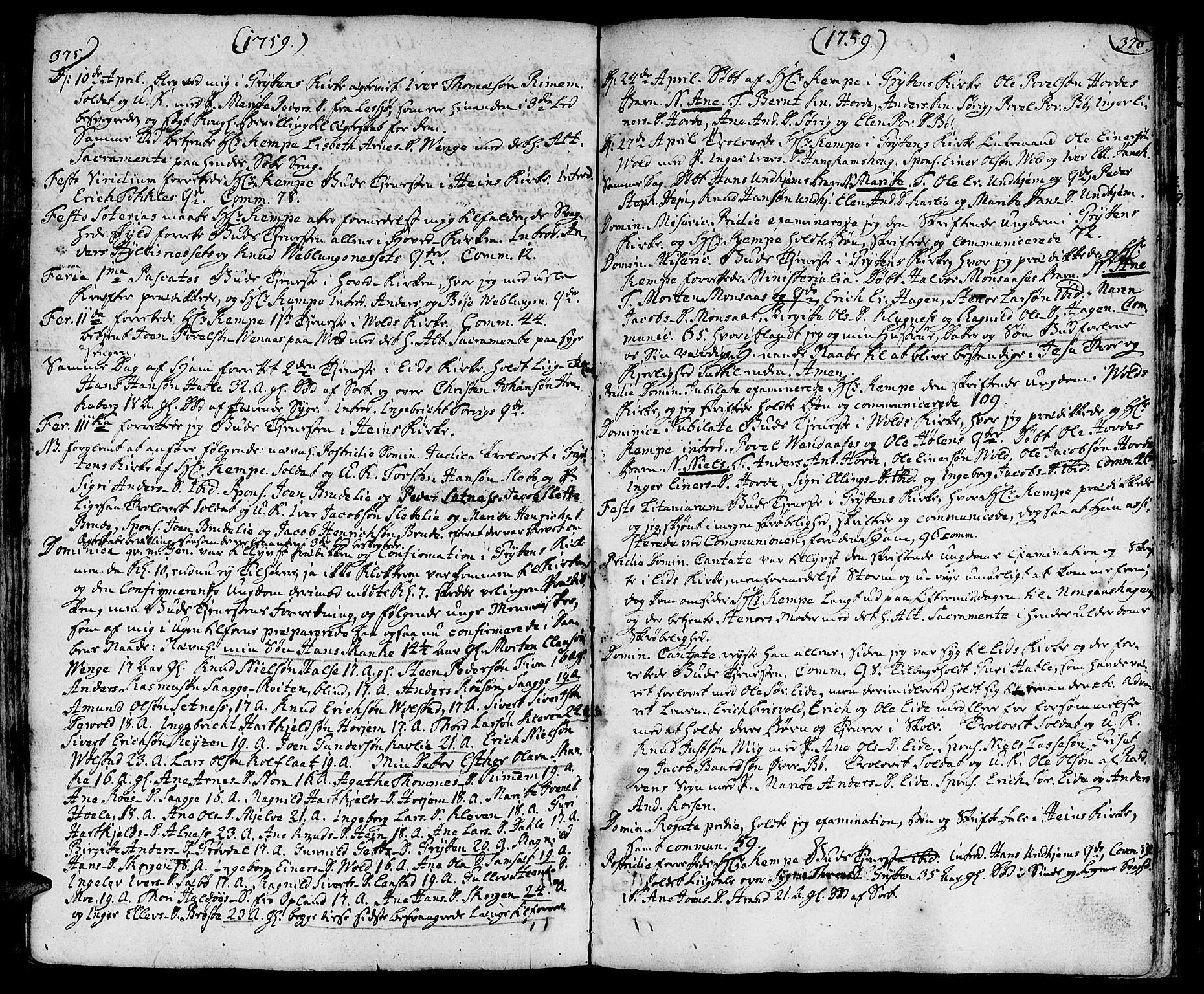 SAT, Ministerialprotokoller, klokkerbøker og fødselsregistre - Møre og Romsdal, 544/L0568: Ministerialbok nr. 544A01, 1725-1763, s. 375-376